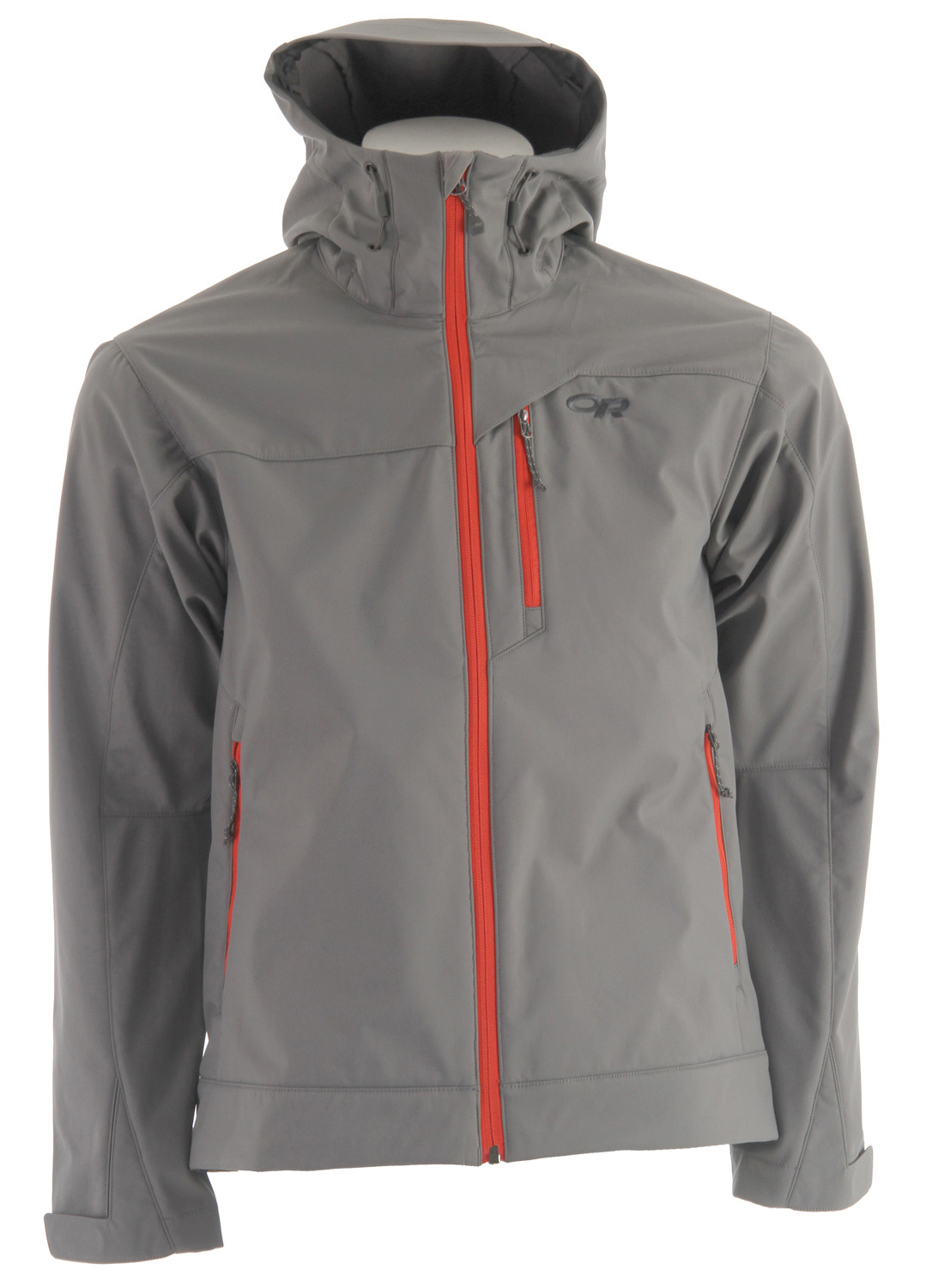 Breathable, soft shell outer layer, the Outdoor Research Transfer Softshell Jacket is for warmer backcountry days or shoulder-season adventures.* Highly water-resistant/breathable bonded soft shell fabric; nylon face, brushed fleece interior * Fully adjustable hood * Brushed tricot collar * Two zippered hand pockets and chest pocket * Hook/loop cuff closures * Dual drawcord hem adjustments - $71.95