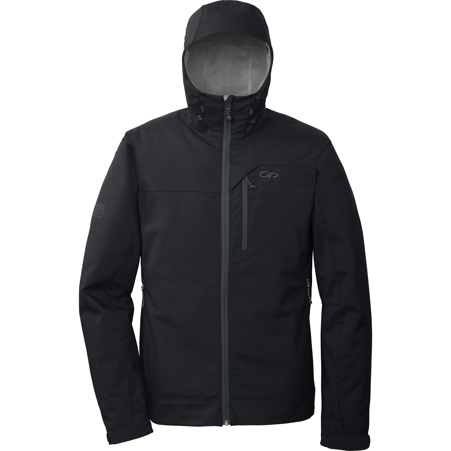 "Ski This water-resistant and breathable stretch soft shell provides unrestricted movement and versatility for warmer backcountry ski days and shoulder-season adventures. The adjustable hood provides additional weather protection.Key Features of the Outdoor Research Transfer Hoody Softshell Jacket: 100% Nylon soft shell face/ 100% Polyester brushed fleece interior Water resistant Breathable Fleece interior Brushed Tricot collar Adjustable hood Two zippered hand pockets Chest pocket Hook/ loop cuff closures Drawcord hem (L) 22.2 oz/ 630g Standard Fit Center Back Length: 29""/ 74cm - $108.95"