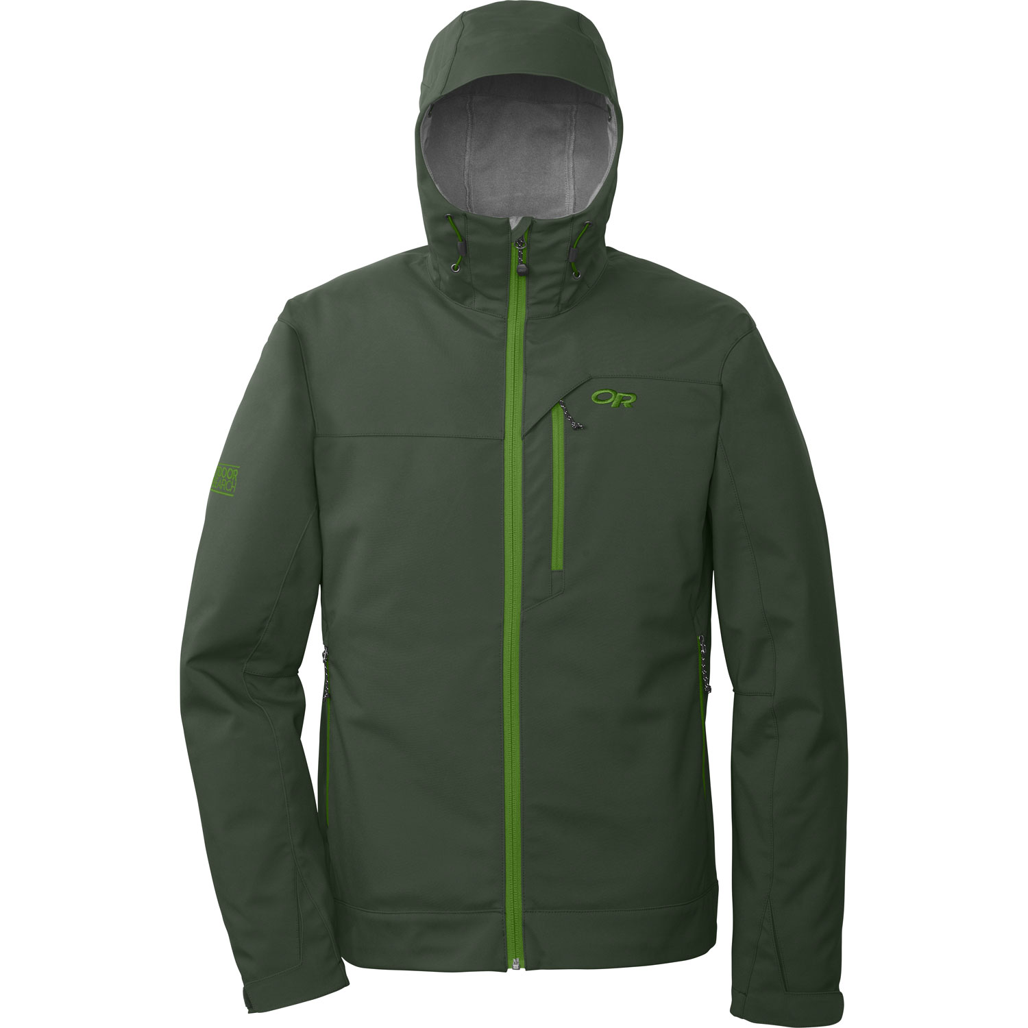 "Ski This water-resistant and breathable stretch soft shell provides unrestricted movement and versatility for warmer backcountry ski days and shoulder-season adventures. The adjustable hood provides additional weather protectionKey Features of the Outdoor Research Transfer Hoody Softshell Jacket: 100% nylon soft shell face / 100% polyester brushed fleece interior Water resistant Breathable Fleece interior Brushed tricot collar Adjustable hood Two zippered hand pockets Chest pocket Hook/loop cuff closures Drawcord hem (L) 22.2 oz. / 630 g Standard Fit Center Back Length: 29"" / 74 cm - $99.95"
