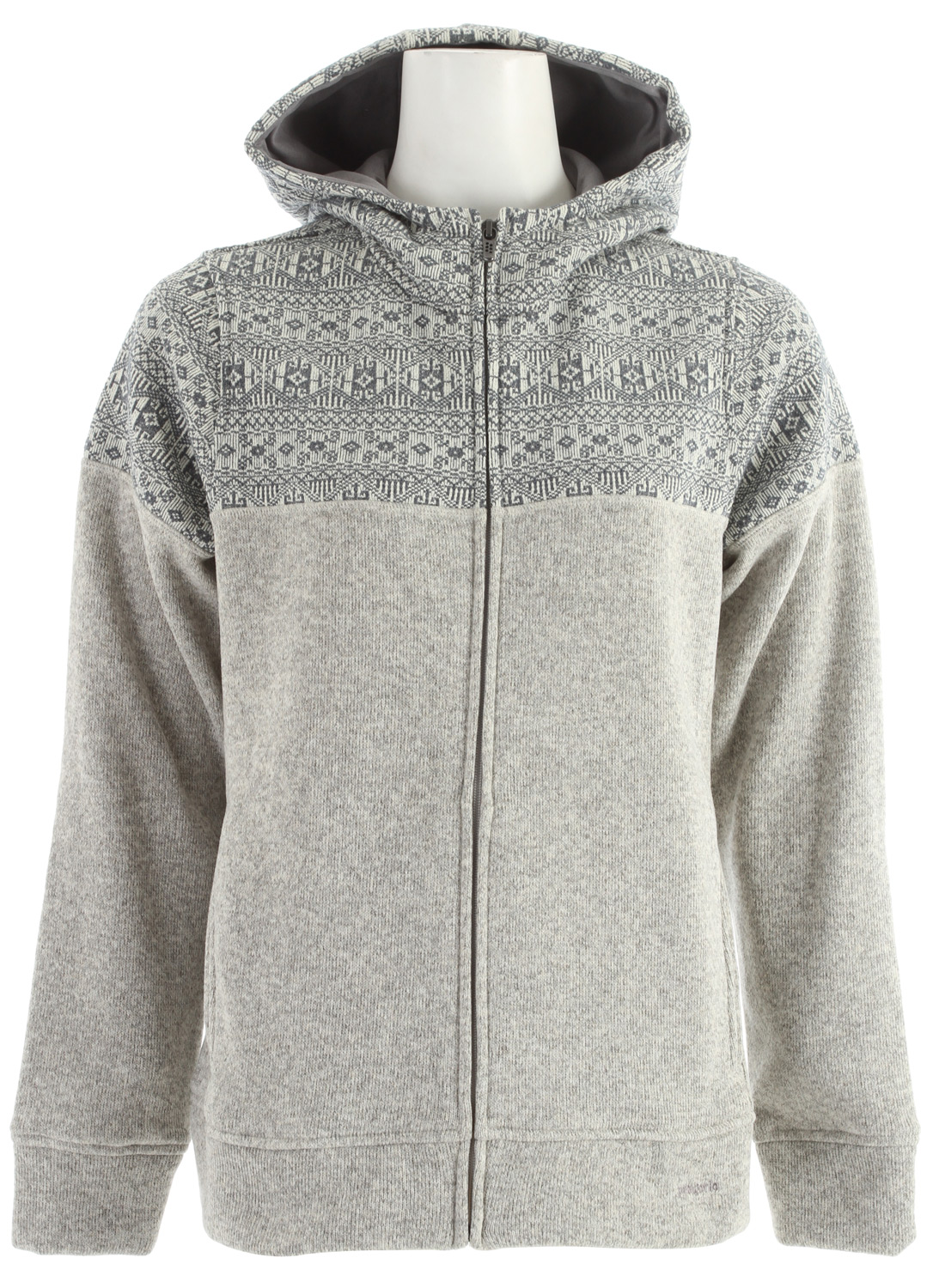 Icelandic design elements rendered in our popular Better Sweater polyester fleece: This cozy fleece hoody has a patterned hood and yoke, a 3-panel hood, full-length zipper and handwarmer pockets. This garment has a Slim Fit Bundle up and enjoy sublime views from the deck of the Faroe Island Ferry. This stylish hoody, cut in a modern silhouette, with side panels with forward seams, has an Icelandic-inspired pattern on its yoke and its 3-panel hood, which is lined with brushed polyester jersey. It's hip length, with handwarmer pockets, styling details at cuffs and waistband, and a full-length zip complete with garage and internal wind flap.Key Features of the Patagonia Better Sweater Icelandic Hoody: 3-panel hood lined with brushed polyester jersey Full-length zipper has an internal wind flap and zipper garage Side panels with forward seams provide a nice fit throughout the body Styling details at cuffs and waistband Handwarmer pockets Hip length Body: 9.5-oz 100% polyester with a sweater-knit exterior and fleece interior. Contrast: 13.5-oz 100% polyester sweater-knit fleece 646 g (22.8 oz) Made in Thailand. - $121.95