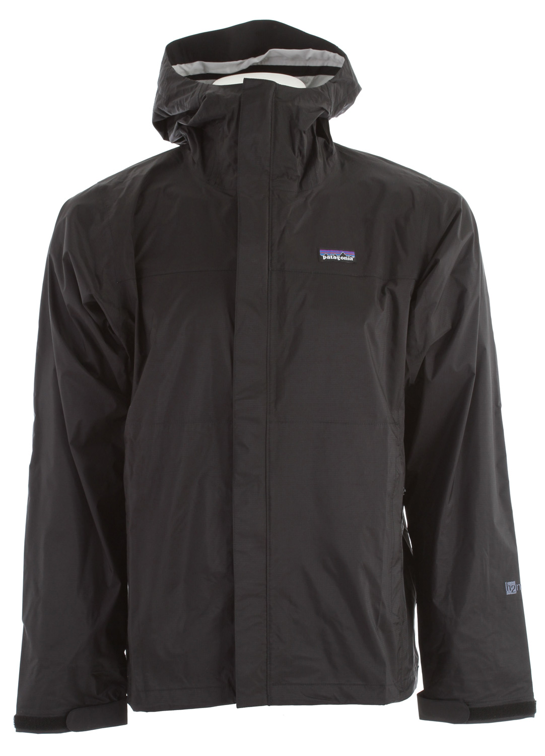Camp and Hike This durable rain jacket, made with 2.5 layer nylon ripstop and a waterproof/breathable H2No barrier is built for trekking and hiking in wet conditionsKey Features of the Patagonia Torrentshell Jacket: 2.5-layer nylon ripstop shell with a waterproof/breathable H2No barrier and Deluge DWR (durable water repellent) finish 2-way-adjustable hood with a laminated visor rolls down and stows Microfleece-lined neck for comfort and enhanced protection of waterproof/breathable barrier Center-front-zipper has exterior and interior storm flaps to keep water out; pit zips have storm flaps and Deluge DWR-treated zippers Self-fabric hook-and-loop cuff closures Pockets: Two handwarmers; one internal mesh drop-in; stows in left hand pocket Drawcord hem Regular fit (13.1 oz) 371 g Fabric: 2.5-layer, 2.6-oz 50-denier 100% nylon ripstop with a waterproof/breathable H2No barrier and a Deluge DWR finish - $89.95