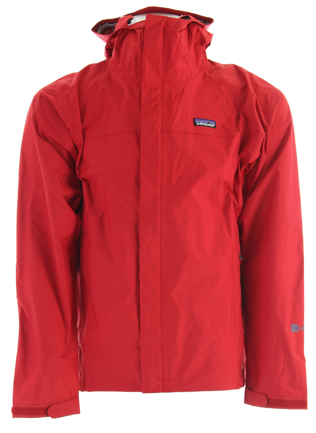 Camp and Hike The Patagonia Torrentshell durable rain jacket, made with 2.5 layer nylon ripstop and a waterproof/breathable H2No barrier is built for trekking and hiking in wet conditionsKey Features of the Patagonia Torrentshell Jacket: 2.5-layer nylon ripstop shell with a waterproof/breathable H2No barrier and Deluge DWR (durable water repellent) finish 2-way-adjustable hood with a laminated visor rolls down and stows Microfleece-lined neck for comfort and enhanced protection of waterproof/breathable barrier Center-front-zipper has exterior and interior storm flaps to keep water out; pit zips have storm flaps and Deluge DWR-treated zippers Self-fabric hook-and-loop cuff closures Pockets: Two handwarmers; one internal mesh drop-in; stows in left hand pocket Drawcord hem Regular fit (13.1 oz) 371 g Fabric: 2.5-layer, 2.6-oz 50-denier 100% nylon ripstop with a waterproof/breathable H2No barrier and a Deluge DWR finish - $82.95
