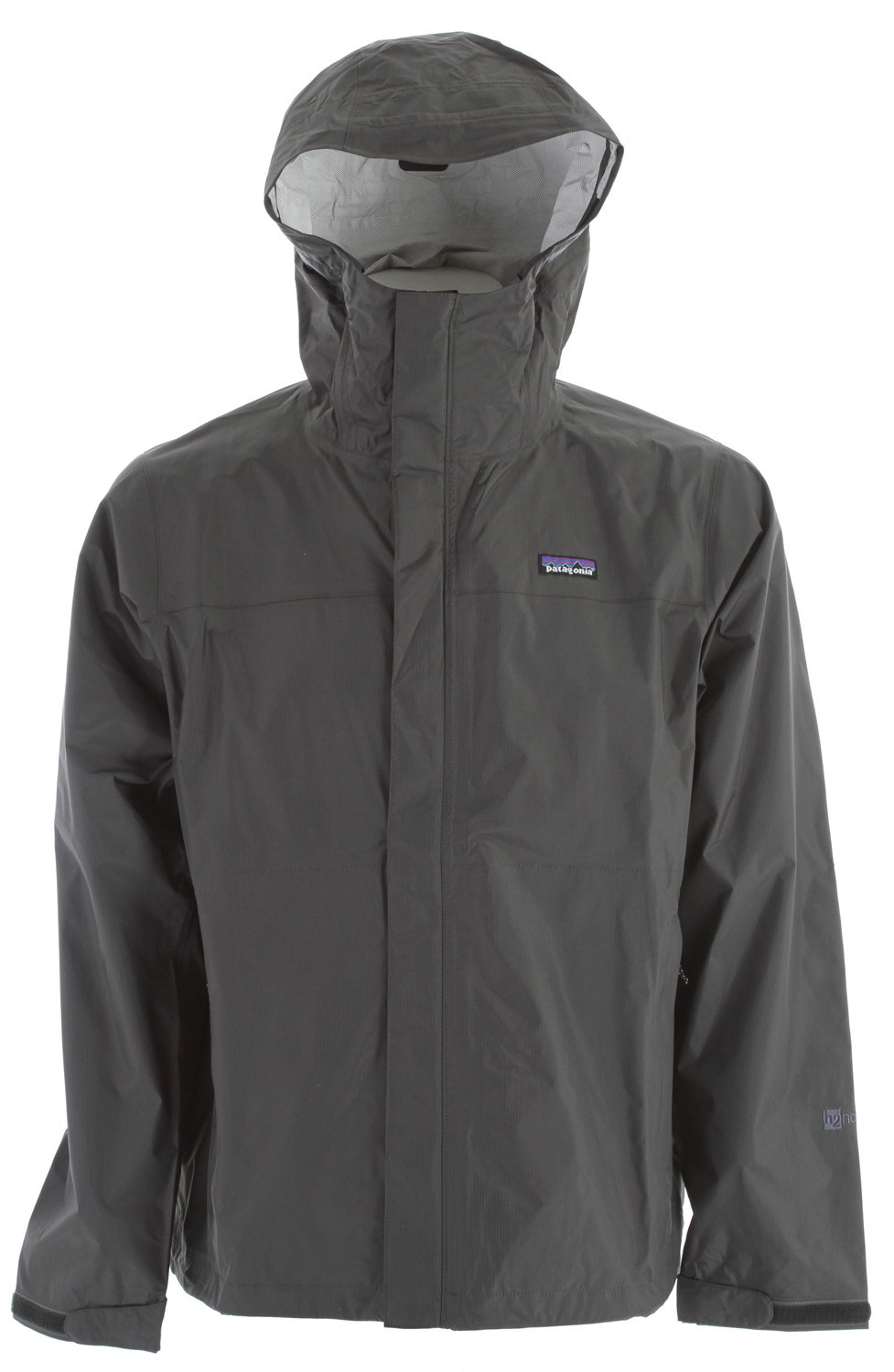 Pared-down and packable, the Torrentshell is a no-frills, 2.5-layer hard shell with a waterproof/breathable H2No barrier for seriously wet weather. fabric: 2.5-layer, 2.6-oz 50-denier 100% nylon ripstop with a waterproof/breathable H2No barrier and a Deluge DWR (durable water repellent) finishKey Features of the Patagonia Torrentshell Jacket: 2.5-layer nylon ripstop shell with a waterproof/breathable H2No barrier and Deluge DWR finish 2-way-adjustable hood with a laminated visor rolls down and stows Microfleece-lined neck provides comfort and protects waterproof/breathable barrier Center-front zipper has exterior and interior storm flaps to keep water out; pit zips have storm flaps and Deluge DWR-treated zippers Self-fabric hook-and-loop cuff closures Pockets: Two handwarmers; one internal mesh drop-in Drawcord hem; packs into zippered self-storage pocket - $89.95