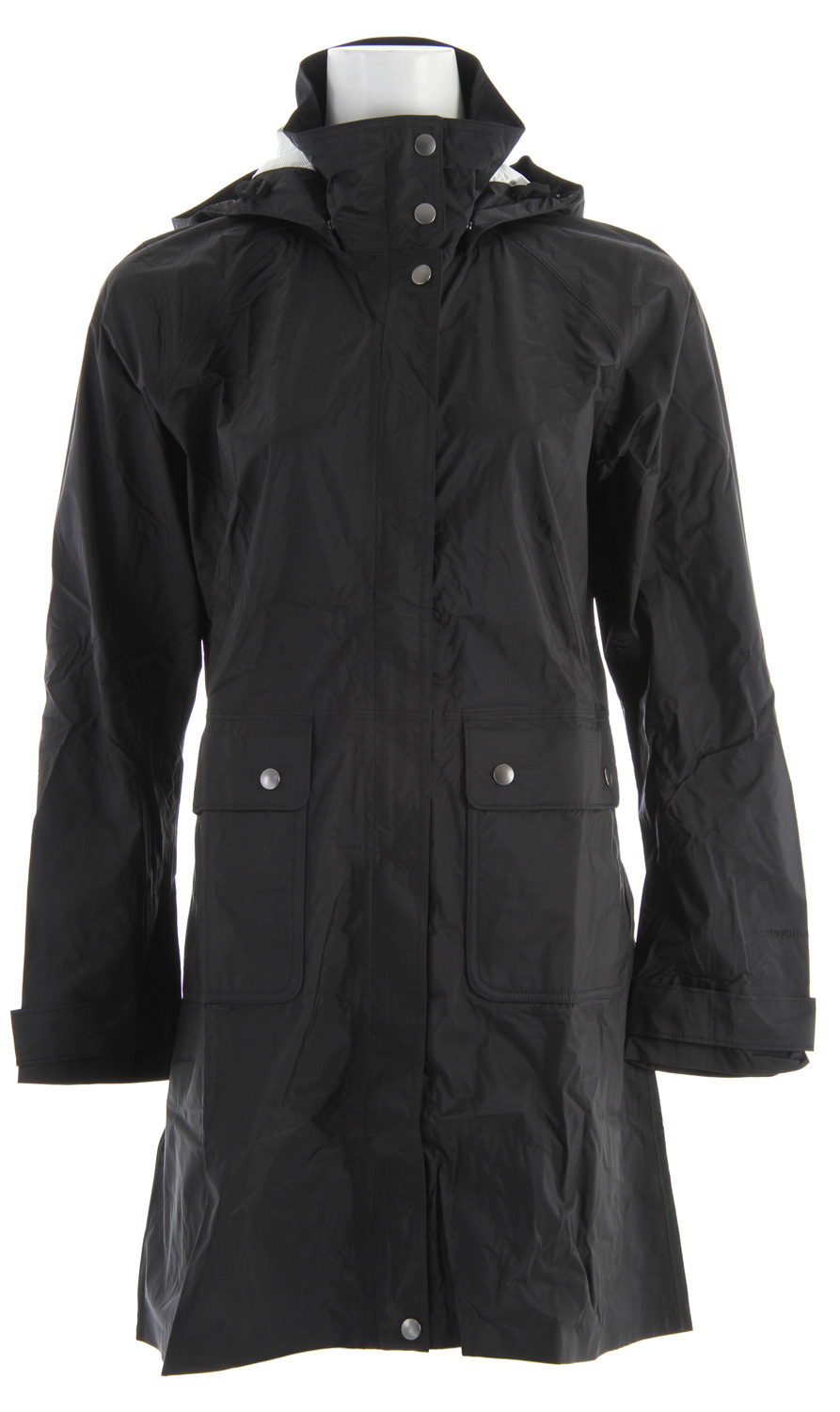 Built for harsh conditions, this packable urban trench coat is made of lightweight nylon with a waterproof/breathable H2No barrier and Deluge DWR (durable water repellent) finish. fabric: 2.5-layer, 2.6-oz 50-denier 100% nylon ripstop with a waterproof/breathable H2No barrier and Deluge DWR finishKey Features of the Patagonia Torrentshell Trench Coat: 2.5-layer tear-resistant fabric is packable and lightweight; interior surface/texture channels moisture away from skin, slides easily over layers, and protects the waterproof/breathable barrier from abrasion Adjustable, removable hood secures with hidden snaps Full-length snap placket with 2-way zipper and storm flap Articulated elbows; cuff tabs have 2-position snaps Pockets: Two front drop-in with snaps; zippered interior mesh Front and back princess seaming and darts for a feminine silhouette; elasticized waist at back Length falls above the knee - $124.95