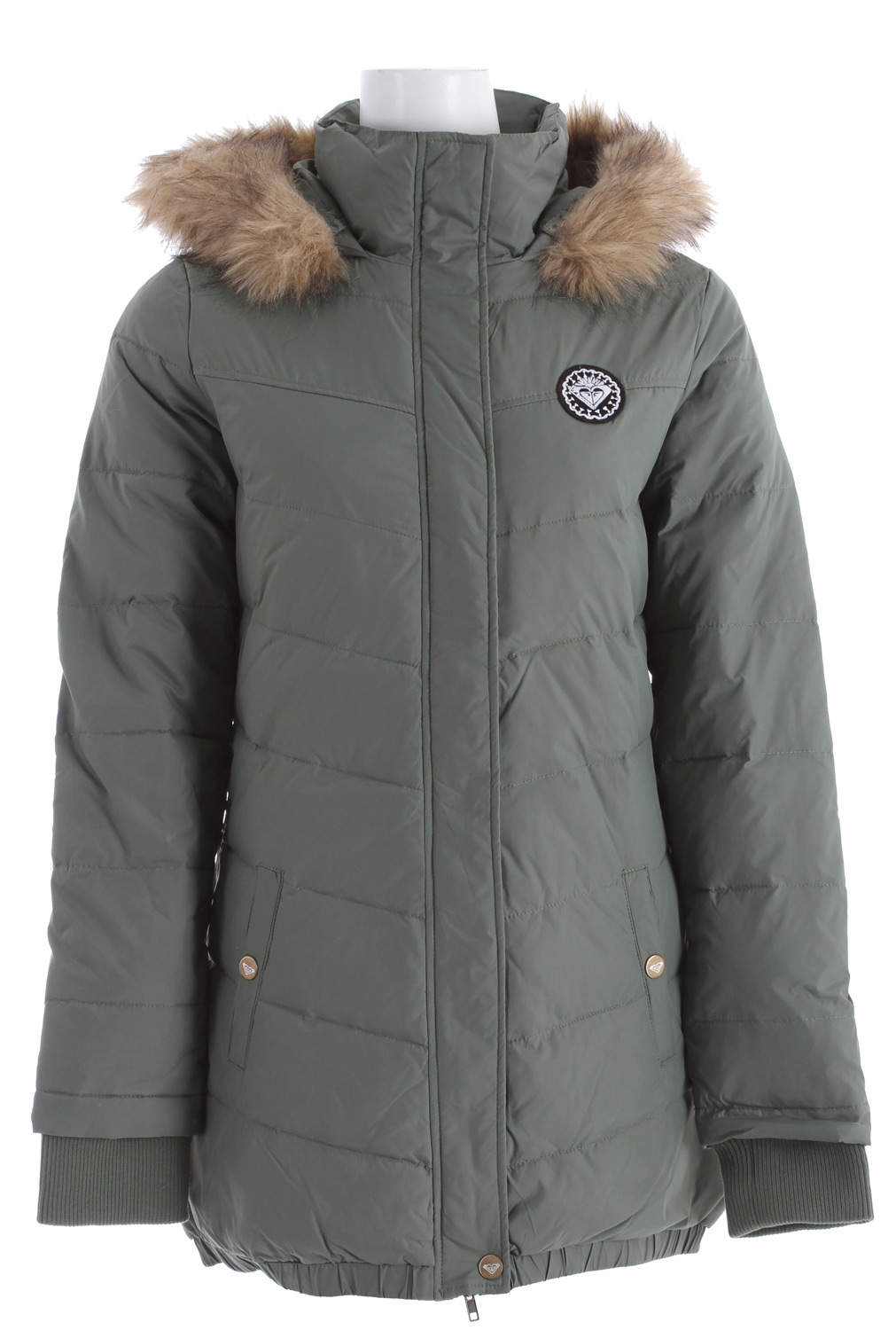 "Surf Shake things up this season with a cozy puffy jacket! Key Features of the Roxy Snow Globe Jacket: 100% Nylon with water resistant coating. Zip front long jacket with removeable fur trim and logo patch. 180 gms fill/80 gms down/ 100 gms ployball. 32"" hps. - $90.95"