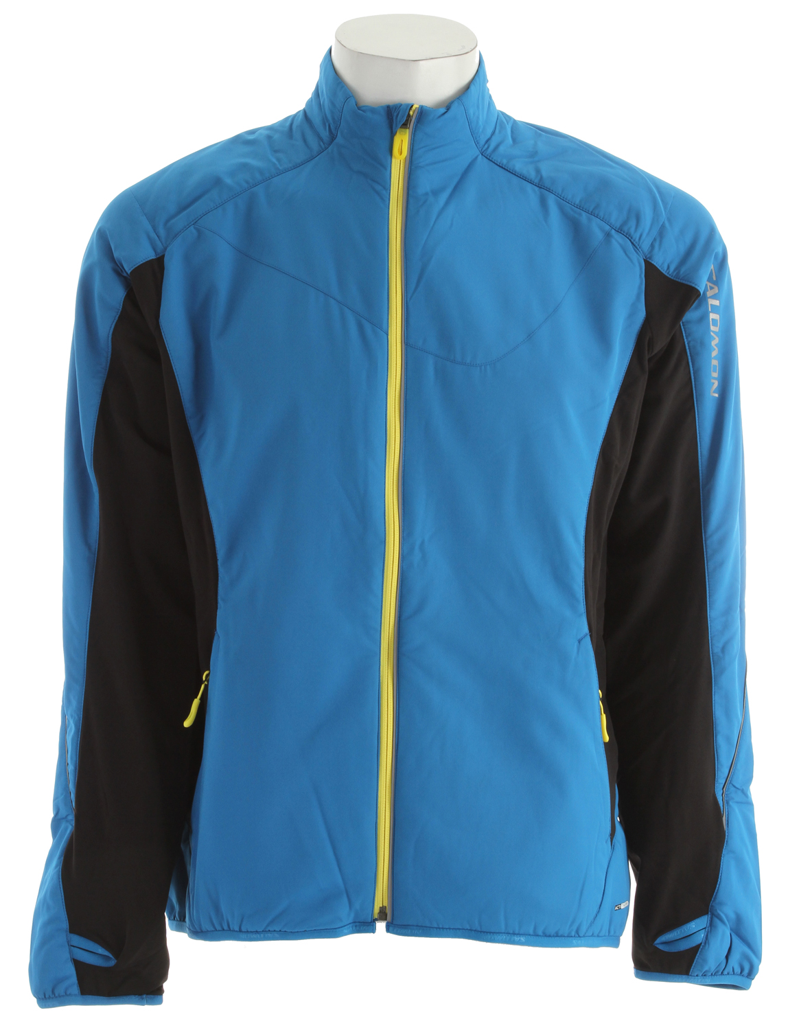 Camp and Hike Key Features of the Salomon Super Fast II Jacket: Breathable polyester blend shell (Main body) polyester / (panels) 82% nylon/18% elastane Polyester lining 1 lb. 2.3 oz. average weight Back length: 29 inches No hood Reflective hits on coat Thumb holes on sleeves 2 zippered front pockets - $69.95