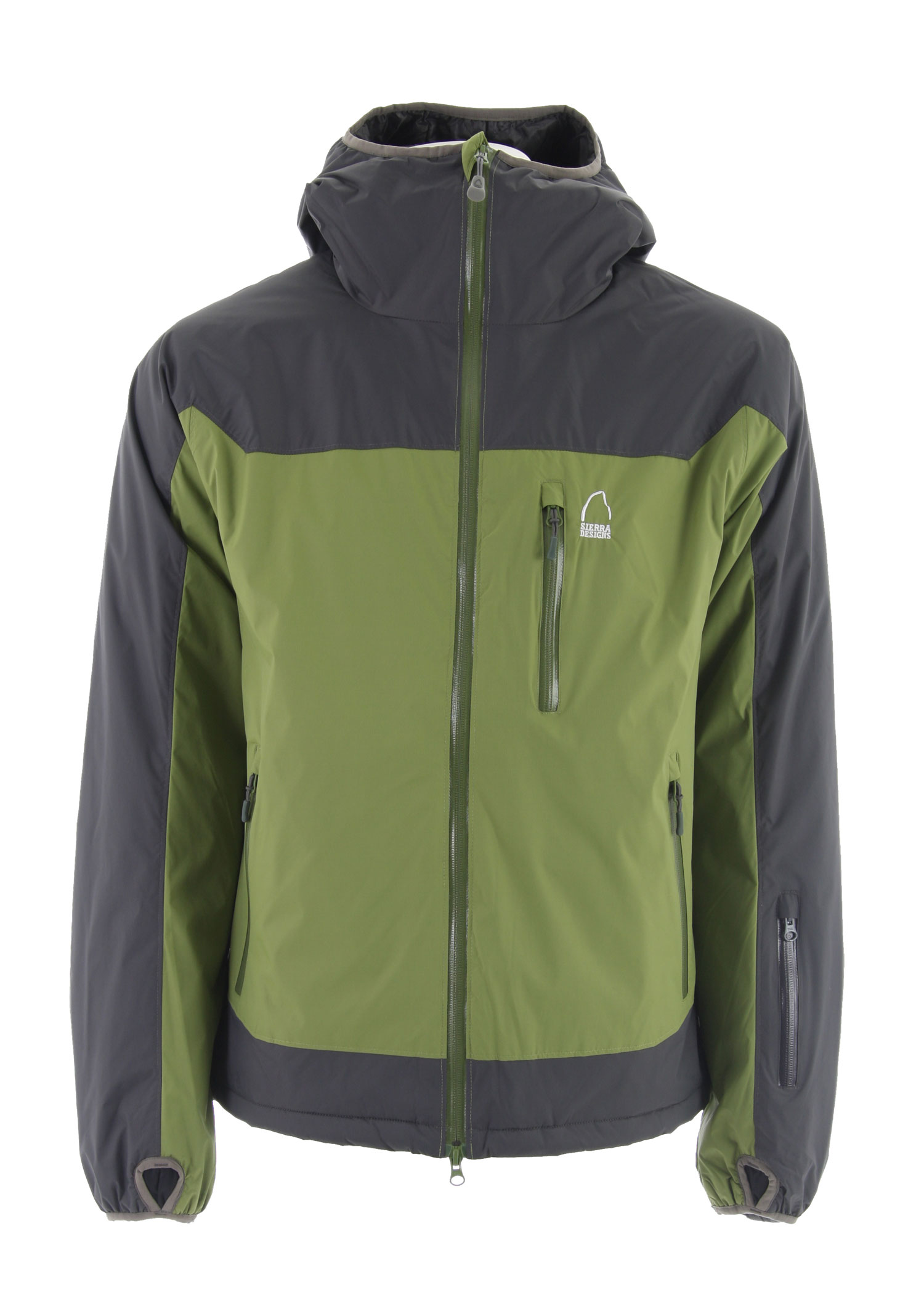 "The durable waterproof shell with a lightly insulated lining. Offering a built-in extra layer, the Sierra Designs Chockstone Insulated Shell Jackets provide an extra layer of warmth while remaining breathable to keep from over heating.Key Features of the Sierra Designs Chockstone Insltd Shell Jacket: 10,000mm Waterproof 6,000g Breathability 100g Primaloft Eco in Body and 60g Primaloft Eco in Sleeves 100% Polyester Taffeta Lining 1 Interior Zippered Pocket and 2 Interior Dump Pockets Interior Tricot Chin Guard Center Front Storm Flap Exposed Waterproof Zippers Condor Construction Helmet Compatible, Adjustable, Elasticized Hood Adjustable Hem Elasticized Cuff with Thumbhole Center Back Length: 31 3/8"" (L) Weight: 30oz Tropozone 2L 100% Nylon Ripstop,55g/m2, 40D, solvent free lamination - $79.95"