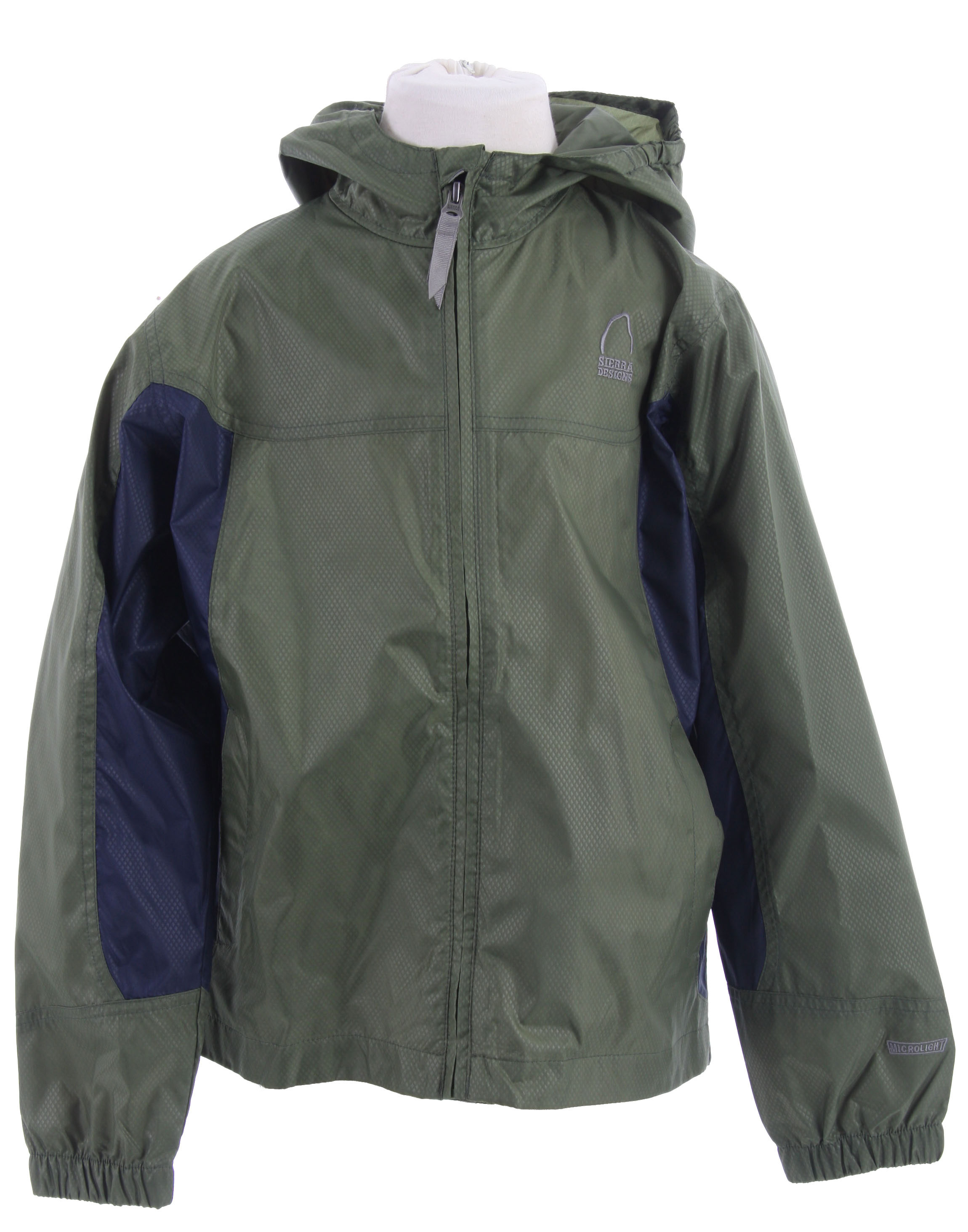 "An unbeatable value, this versatile jacket insulates with a fast wicking, polyester.Key Features of the Sierra Designs Microlight Shell Jacket: Encased Elastic on Each Side of Hood and Hood Has Visor Reverse Coil Center Front Zipper 2 Hand Pockets 1 Zippered Interior Chest Pocket with Earbud Portal Elastic Cuffs Includes Stuff Sack Center Back Length 25"" (L) Weight 6.5 oz Microlight 800 WP 100% Polyester Embossed Diamond 75D 3.04 oz/yd; (103 g/sqm) - $20.95"