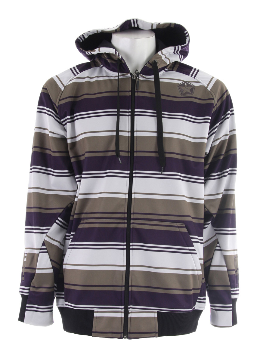 Snowboard The Sessions Retro Stripe Softshell Jacket is a hoodie Style Softshell Jacket with Hidden Mitten feature and Audio Ports.Key Features of the Sessions Retro Stripe Softshell Jacket: 5,000mm Waterproof 8,000g Breathability Fit: True - $72.95