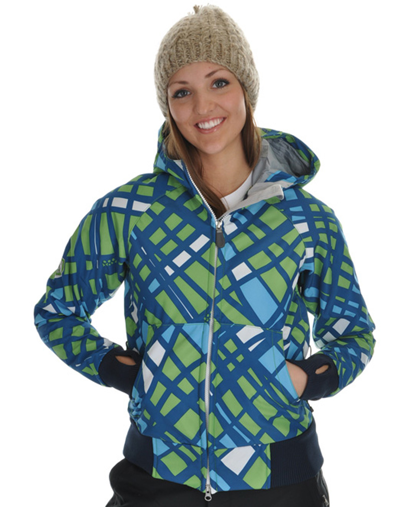 Snowboard This 686 Women's Snowboarding jacket is extremely fashionable and is sure to turn heads. The tough outer shell will keep you dry and warm, while remaining breathable to keep you from overheating. The unique design compliments the large hood to keep your head warm and comfortable. The insulation is lightweight and will not weigh you down so you feel free while riding. This jacket is a great choice for any woman looking for a stylish and versatile snowboarding jacket.Key Features of the 686 Plexus Oasis Softshell Snowboard Jacket: 8,000mm Waterproof 5,000mm Breathable Printed Polyknit w/ 210g Backing Softshell Fabrication Ribbed Cuffs and Hem Hood Drawcord Adjustment Binding Finished Internal Seams Pit Zip Vents - $79.95