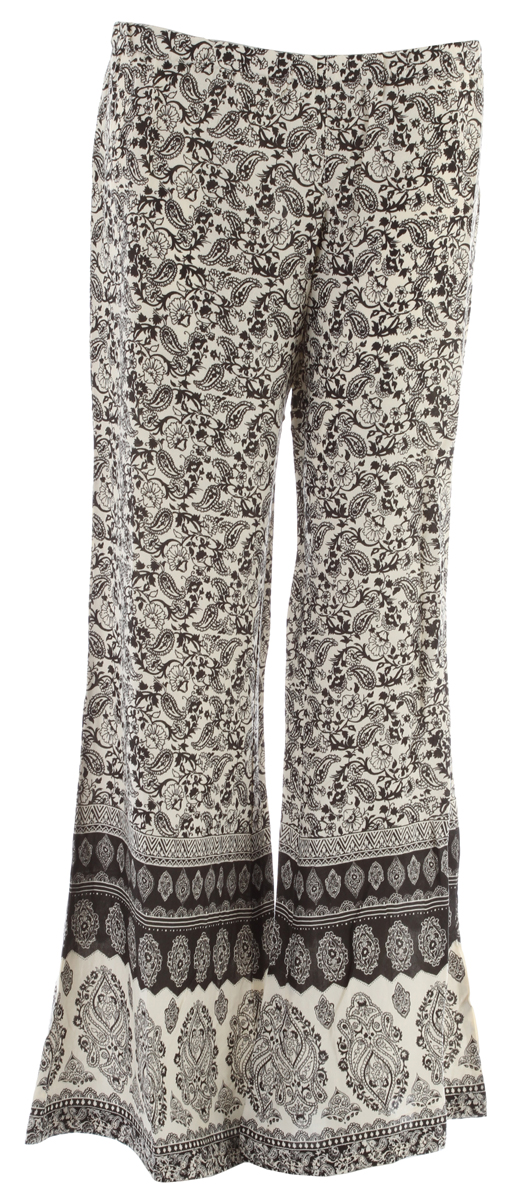 "Surf Key Features of the Billabong Desert Light Pants: 100% rayon hippy paisley printed woven pull on beach pant wide leg fit and engineered border at hem inseams: 33"" leg opening: 38.5"" - $39.50"