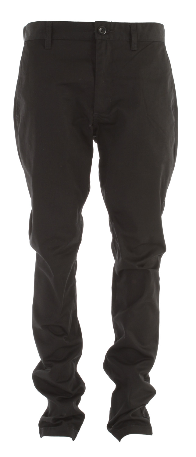 "Key Features of the RVCA Weekender Pants: 65% polyester/35% cotton twill chino slack pant Zipper fly with button closure Slash pockets at front Single welt pockets at back with RVCA solo label Rise: 11"" Knee opening: 16 1/2"" Bottom Leg opening: 16"" Inseam: 32 1/2"" - $49.00"