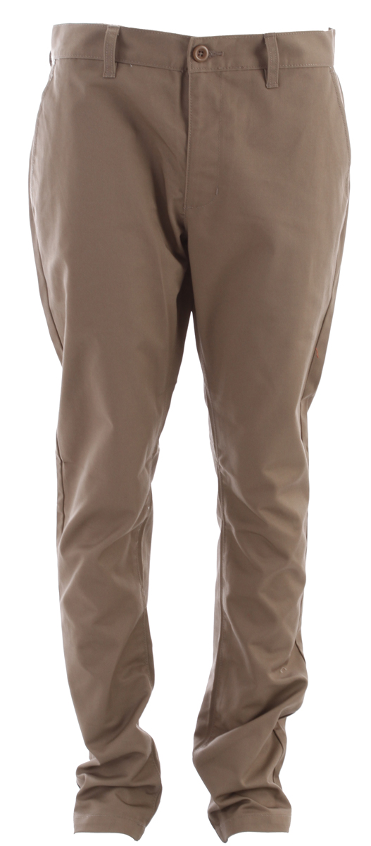 "Key Features of the RVCA Weekender Pants: 65% Polyester/35% Cotton twill chino slack pant. Zipper fly with button closure. Slash pockets at front. Single welt pockets at back with RVCA solo label. Rise: 11"" Knee Opening: 16 1/2"" Bottom Leg Opening: 16"" Inseam: 32 1/2"" - $33.95"
