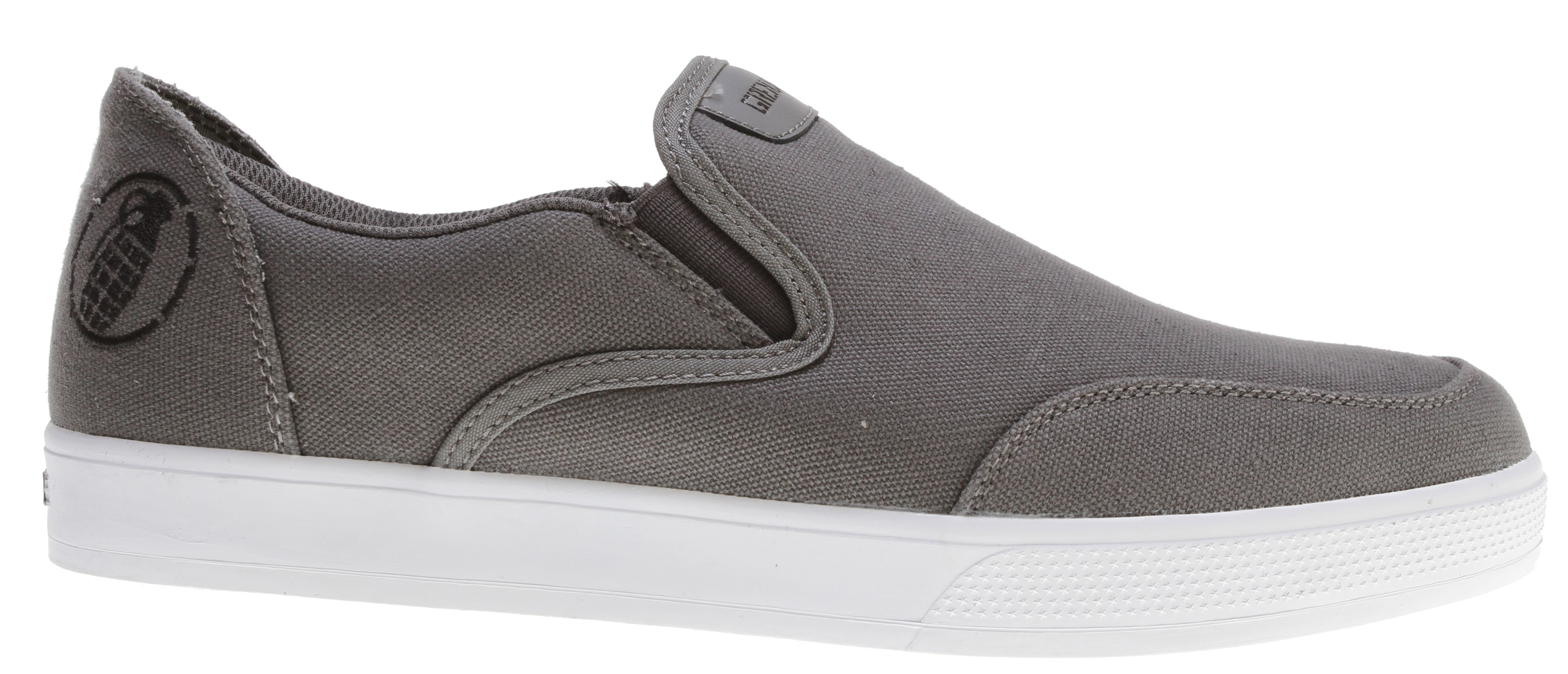 Key Features of the Grenade No Strings Attached Shoes: Cotton canvas upper Durable rubber cupsole Padded collar for comfort Protective toe overlay True slip-on silhouette - $27.95