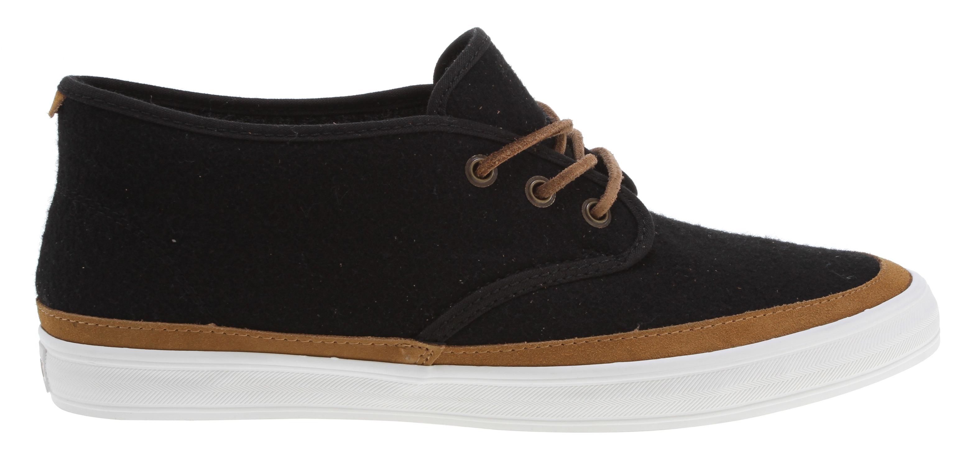 Key Features of the Gravis Quarters Wool Shoes: quality wool uppers canvas lining textured foxing latex with rubber heel wedge footbed high traction molded rubber outsole - $55.95