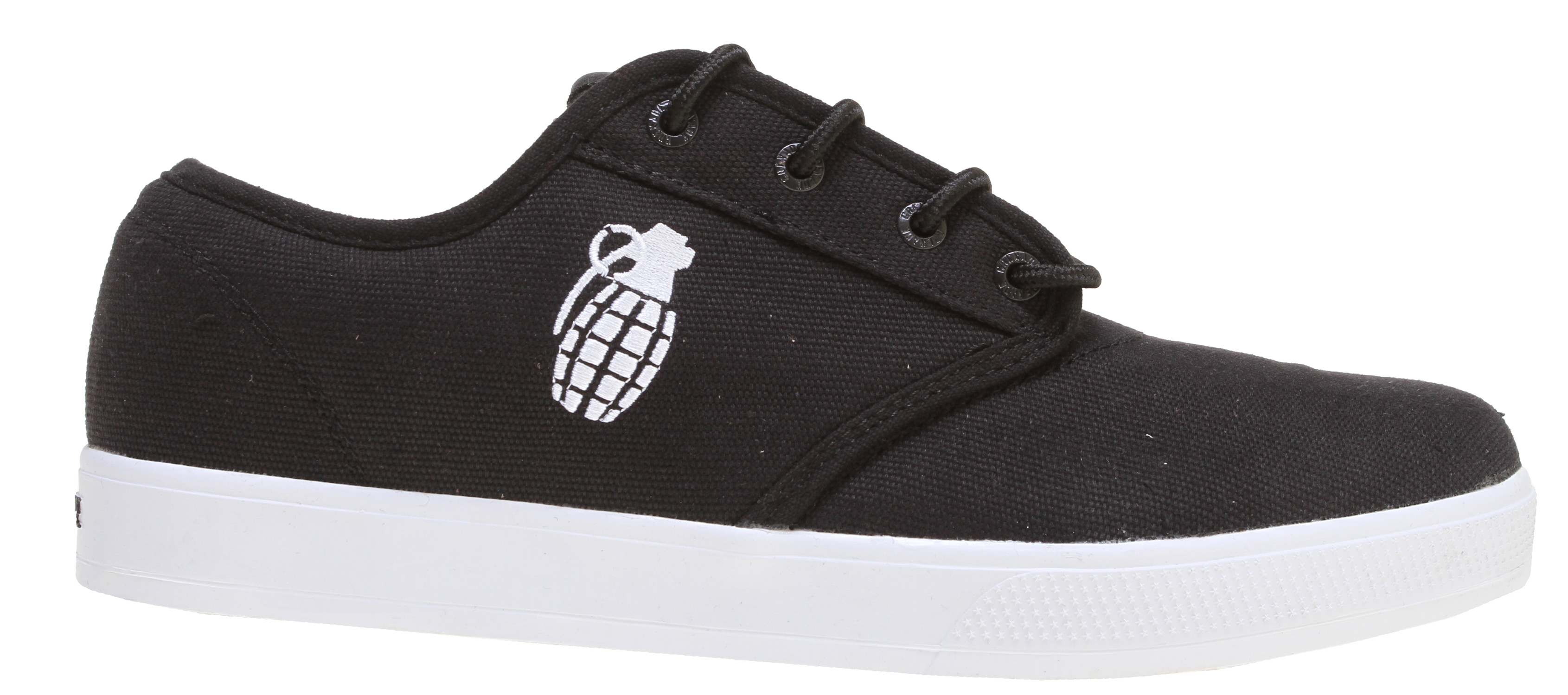 "The Grenade Unlaced Shoes features a casual unlaced look, perfect to wear outside during the day. Super comfortable, these shoes are ideal to wear for long periods at a time. Sport this look with a casual T-shirt and a pair of jeans and your outfit is complete. You're now ready to hit the town in ultra comfort and style.Key Features of the Grenade Unlaced Shoes: Grenade Shaped Lace Toggles A Pair of Grenade Branded Socks 8.5"" Die Cut Grenade Sticker Dogtags Shoebox itself is a Grenade Stencil - $16.95"