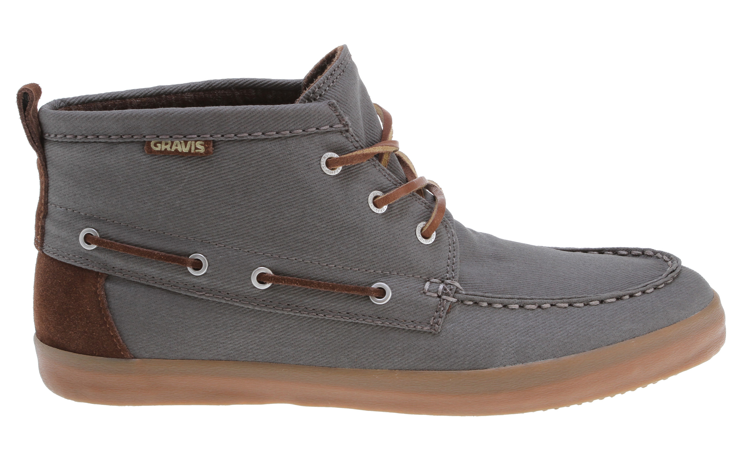 Key Features of the Gravis Yachtmaster Mid Shoes: Premium suede and textile uppers Hand sewn construction Round cotton laces Custom gravis eyelets Leather lace detail around the collar Breathable mesh lining Latex with rubber heel wedge footbed Texture calendar outsole - $68.95