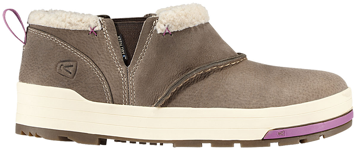 Stay super warm this winter with the Keen Snowmass Slip On Shoes. Featuring a faux shearling lining, these slip on shoes are ultra warm, guaranteed to keep your feet warm all season long. Easy to put on and take off due to its elastic feature, it's so convenient. Perfect for all day wear, treat yourself to these fabulous winter slip on shoes.Key Features of the Keen Snowmass Slip On Shoes: Dual climate non-marking rubber outsole Faux shearling lining Gore elastic side panels for easy on/off KEEN.DRY waterproof breathable membrane Nubuck upper Removable thermal heat shield footbed - $64.95