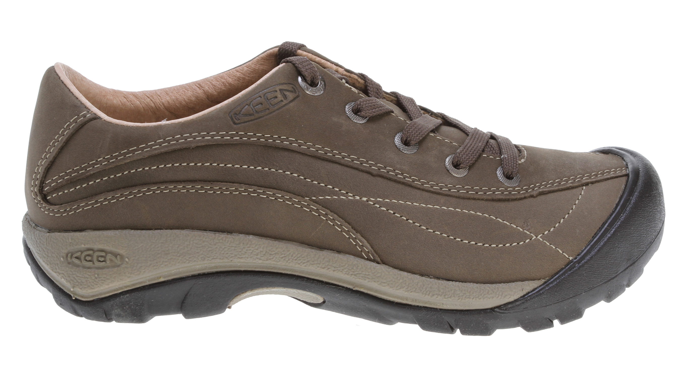 Feminine lace-up style on the top; tough, no-nonsense KEEN outsole underneath. Ready for whatever urban adventure life can dish out, the Toyah offers practical style in a shoe comfortable enough to keep you smiling through a day on your feet. The oiled nubuck leather upper features accented top stitching and classic KEEN toe protection, while a comfy anatomical footbed and active outsole provide support.Key Features of the Keen Toyah Shoes: Classic oxford lace design Compression molded EVA midsole Non-marking rubber outsole Patented toe protection Removable metatomical dual density EVA footbed Waterproof nubuck leather upper Weight: 11.64 oz/330.58 g Activities: City Streets Type: Shoes: Light Rain not for puddles Fit Tip: We find this style runs pretty true to size Lining: Leather Upper: Waterproof nubuck Rubber: Non-marking rubber outsole - $65.95