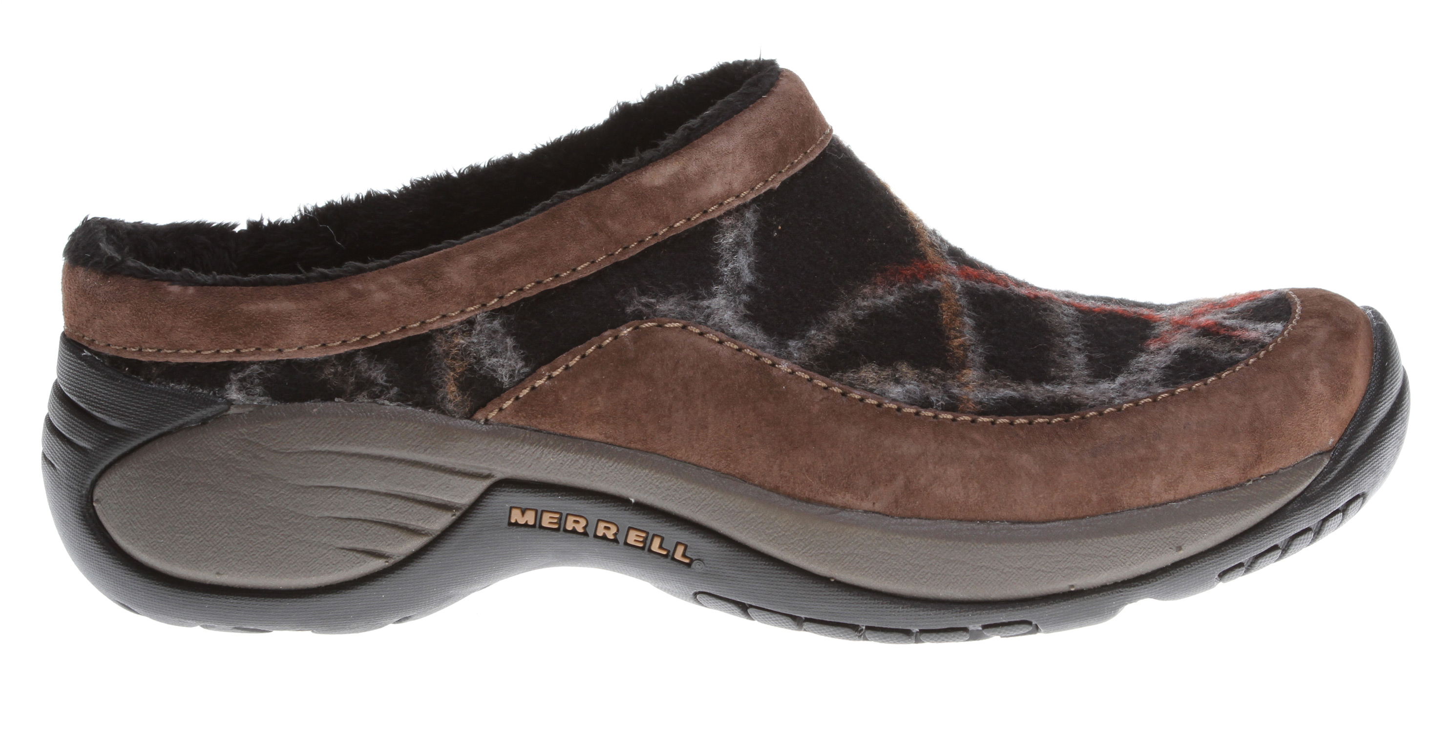 You'll count the days to cold weather with this woolly slip-on clog by the door. Ever faithful, ever versatile Encore walking comfort with women's stride-specific Q-Form Comfort cushioning feels flexible yet supportive all day. With the cozy faux-fur lining and wool/suede, breathable upper, you'll be the happiest person hoofing it around town.Key Features of the Merrell Encore Burst Shoes: Strobel construction offers flexibility and comfort Wool and suede leather upper DWR-treated upper repels water and resists staining Breathable faux fur lining treated with Aegis antimicrobial solution resists odor Molded nylon arch shank Ortholite anatomical footbed Molded nylon arch shank Merrell Qform comfort EVA midsole provides women's specific stride-sequenced cushioning Merrell air cushion in the heel absorbs shock and adds stability Merrell Encore 2 Sole/Sticky Rubber Women's Weight: 1 lb - $72.95