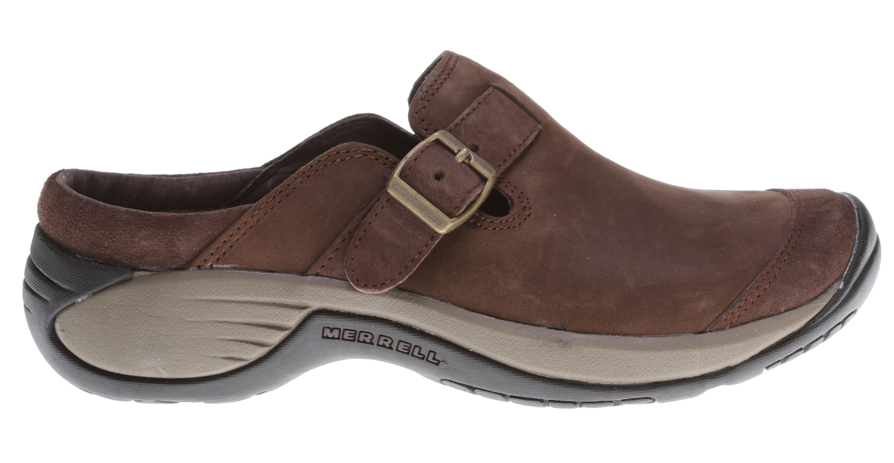 Fitness Kick up your heels in these feisty favorites! Running errands or running for coffee, this feminine leather slip-on ups your dress-up factor as an everyday wardrobe staple, with details like wool-wrapped footbeds for extra warmth anti-odor treated sheepskin linings, and women's-specific midsole cushioning ensure comfort.Key Features of the Merrell Encore Buckle Shoes: Strobel construction offers flexibility and comfort Nubuck and suede leather upper Breathable mesh lining treated with Aegis antimicrobial solution resists odor Ortholite anatomical footbed Molded nylon arch shank Merrell QForm Comfort EVA midsole provides women's specific stride-sequenced cushioning Merrell air cushion in the heel absorbs shock and adds stability Merrell Encore 2 Sole/Sticky Rubber Women's Weight: 1 lb 1 ozs - $80.00