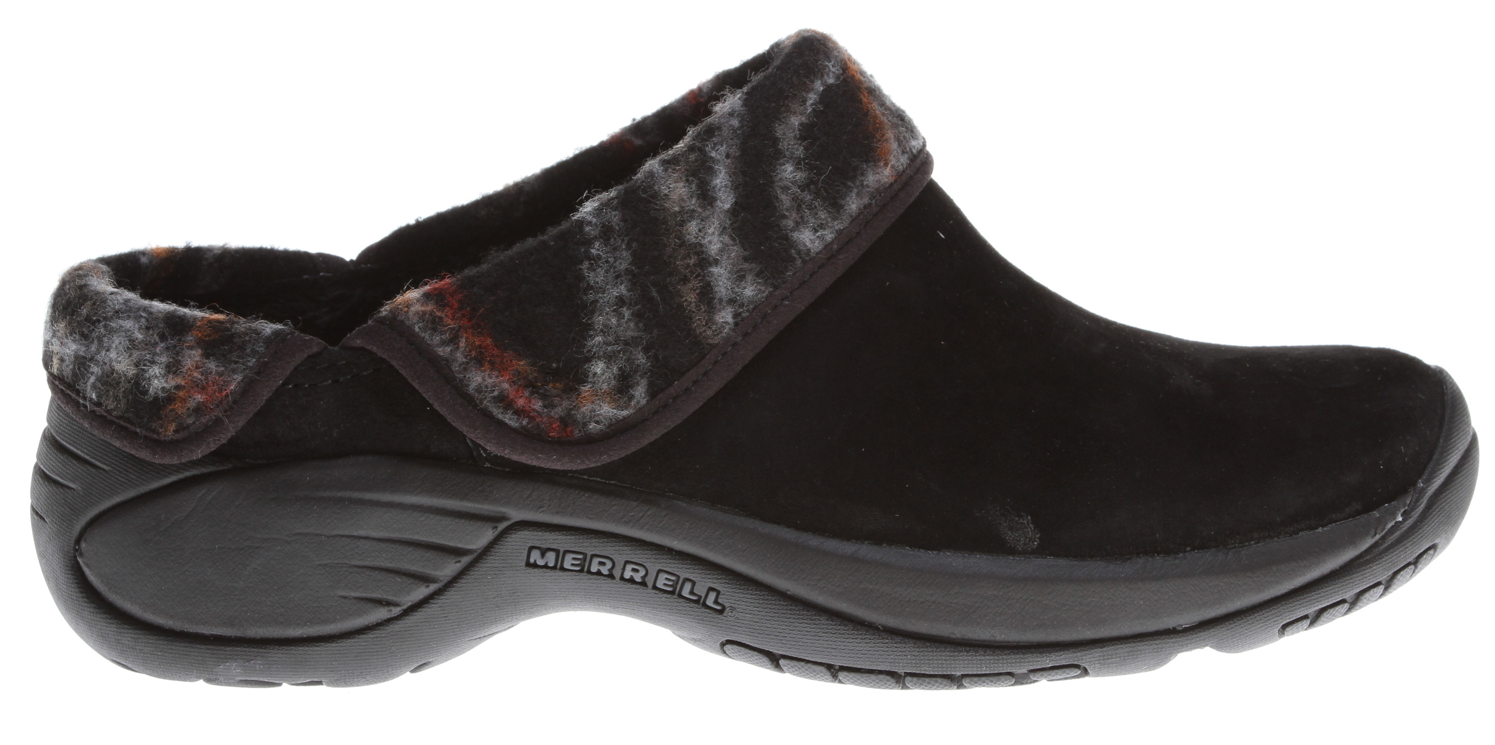 Savor every step in this slip on clog - simple, woolly and warm walking comfort for winter. Ever faithful, ever versatile Encore walking comfort with women's stride-specific Q-Form Comfort cushioning feels flexible yet supportive all day. With the cozy faux-fur lining and wool/suede, breathable upper, you'll be the happiest person hoofing it around town.Key Features of the Merrell Encore Ripple Shoes: Strobel construction offers flexibility and comfort Wool and suede leather upper DWR-treated wool repels water and resists staining Breathable faux fur lining treated with Aegis antimicrobial solution resists odor Molded nylon arch shank Ortholite anatomical footbed Molded nylon arch shank Merrell Qform comfort EVA midsole provides women's specific stride-sequenced cushioning Merrell air cushion in the heel absorbs shock and adds stability Merrell Encore 2 Sole/Sticky Rubber Women's Weight: 1 lb 1 oz - $80.00