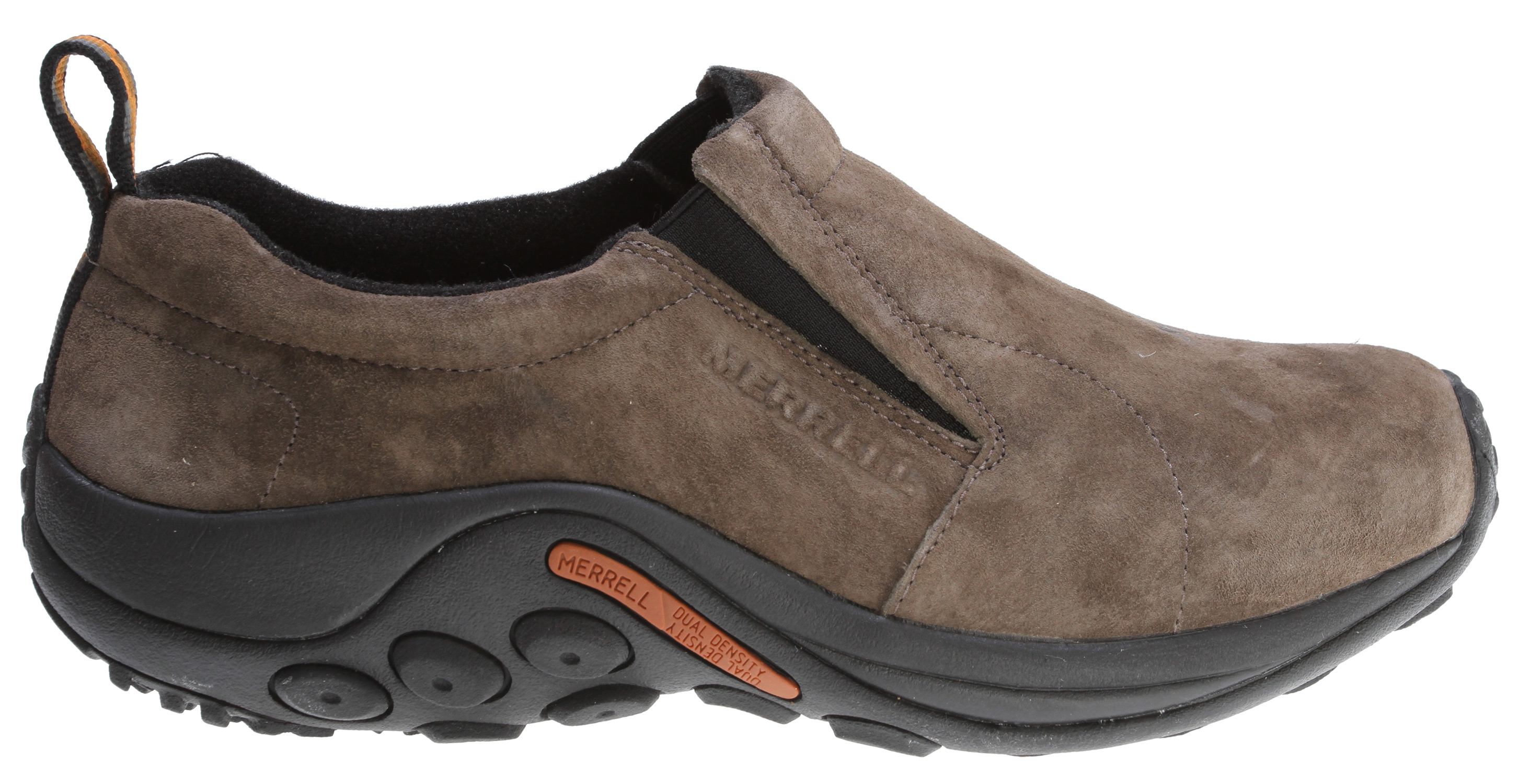 Slip-on, comfortable, aftersport moc .Key Features of the Merrell Jungle Moc Wide Shoes: strobel construction offers flexibility and comfort pig suede leather upper lining treated with aegis® antimicrobial solution ortholite® anatomical footbed molded nylon arch shank compression molded eva footframe provides cushioning merrell air cushion in the heel absorbs shock and adds stability merrell jungle runner sole/sticky rubber - $55.95