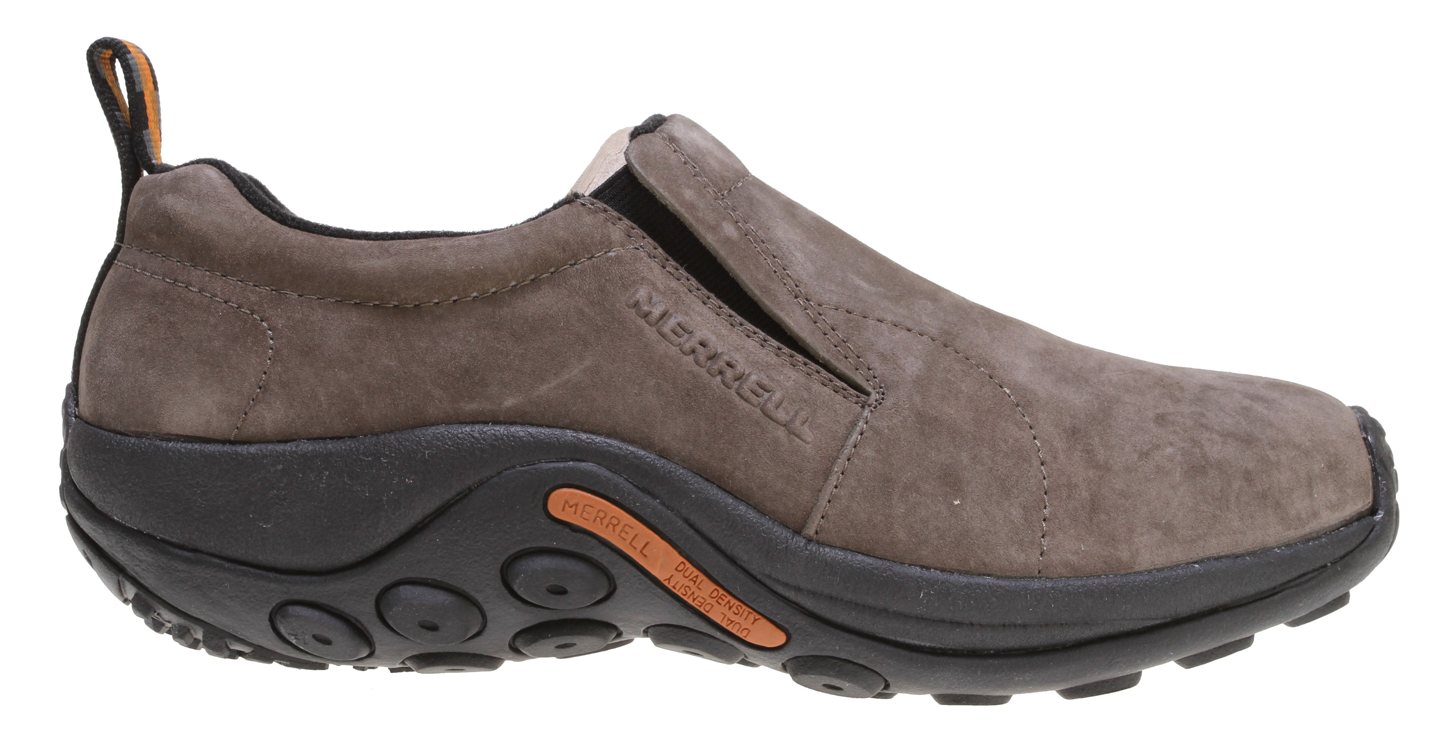 Look casual and be comfortable in these Merrell Jungle Moc Shoes. Featuring a simple, laceless design, these shoes are so easy to put on and take off, providing ease and convenience. Made with pig suede upper, these Merrell Jungle Moc Suede Shoes look ultra classy. Constructed to provide ultimate flexibility and comfort, it's ideal to wear all day long. Molded arch shank and footbed provide added comfort and support to your feet. All these great features bundled into one, you have to dive in and get it.Key Features of The Merrell Jungle Moc Shoes: Strobel construction offers flexibility and comfort Pig suede leather upper Lining treated with Aegis antimicrobial solution Ortholite Anatomical Footbed Molded nylon arch shank Compression Molded EVA Footframe provides cushioning Merrell air cushion in the heel absorbs shock and adds stability Merrell Jungle runner Sole/Sticky rubber Weight: 1 lb. 9 ozs. - $55.95