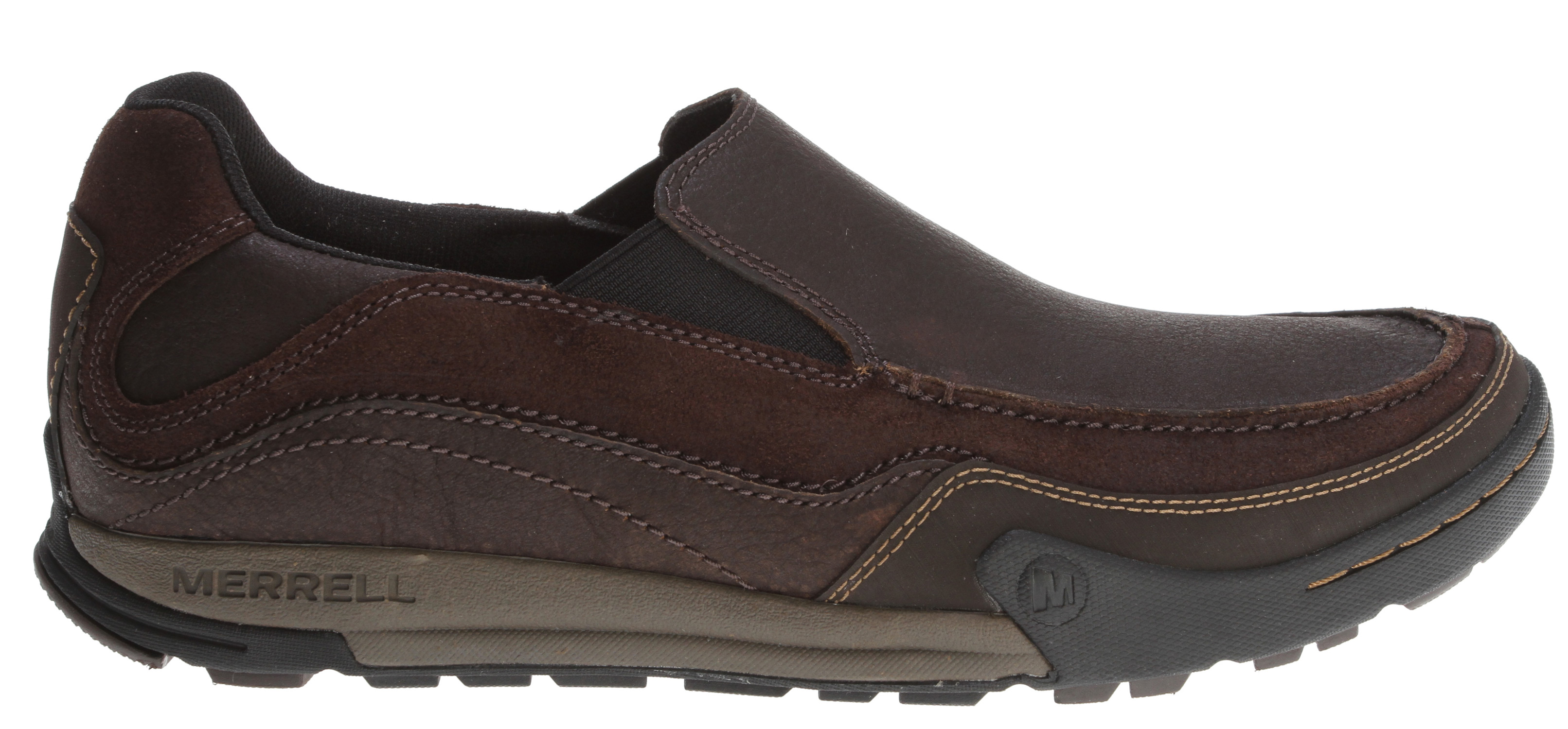 Camp and Hike For those who thrive on mountain air and activities, this hip moc is the perfect after hours, after sport shoe. Taking cues from outdoor sports we love, the cool suede upper and hip cushioned, supportive platform are durable and comfortable for hiking around, but look great with jeans around town, too.Key Features of the Merrell Mountain Moc Shoes: Strobel construction offers flexibility and comfort Nubuck leather and cow suede upper Mesh lining treated with Aegis® anti-microbial solution EVA anatomical footbed treated with Aegis® anti-microbial solution 2 mm EVA insole for comfort and shock absorption Molded nylon arch shank Compression molded EVA footframe for stability and comfort Merrell Air Cushion in the heel absorbs shock and adds stability Merrell sole sticky rubber 3.5 mm sole lug depth Men's Weight: 1 lb 10ozs - $65.95