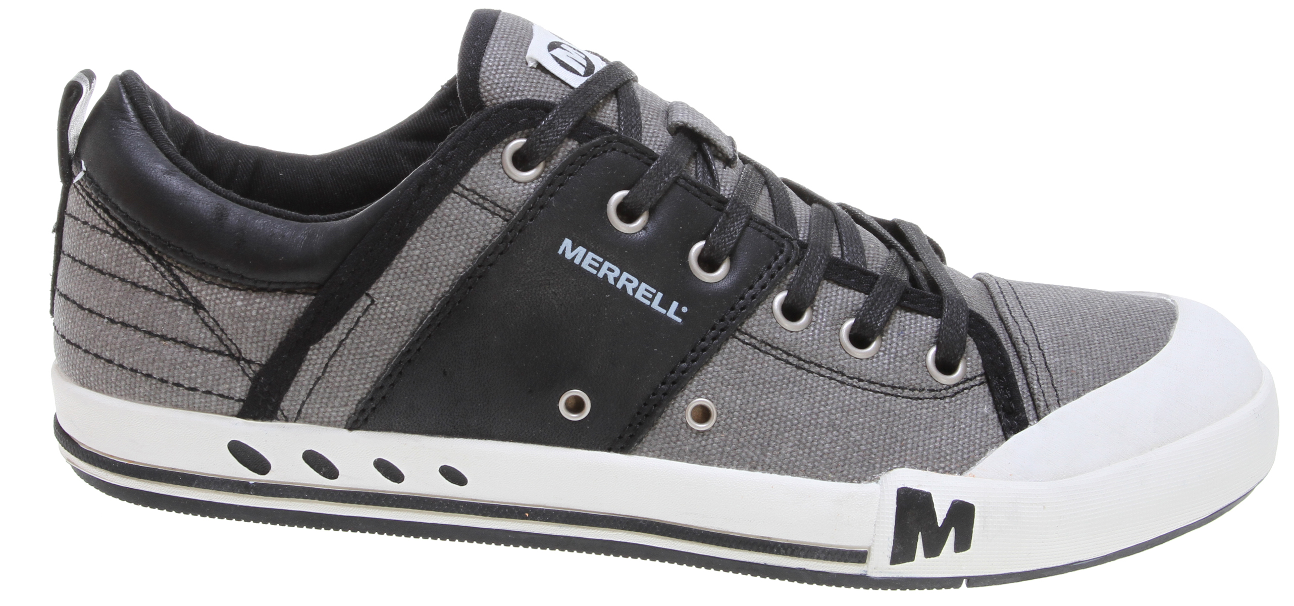 Secure your all-star status with this street smart sneaker to slam dunk comfort and style. Its upper combines full-grain leather with canvas. And, for hitting the streets, there's added shock - and odor - absorption for all-day comfort.Key Features of the Merrell Rant Shoes: Strobel construction offers flexibility and comfort Canvas and full grain leather upper Low cut upper Twill lining treated with Aegis® antimicrobial solution resists odor EVA removable footbed Molded nylon arch shank Merrell air cushion in the heel absorbs shock and adds stability with an EVA midsole for cushioning Merrell Rant Sole / Sticky Rubber Men's Weight: 1 lb 12 ozs - $48.95