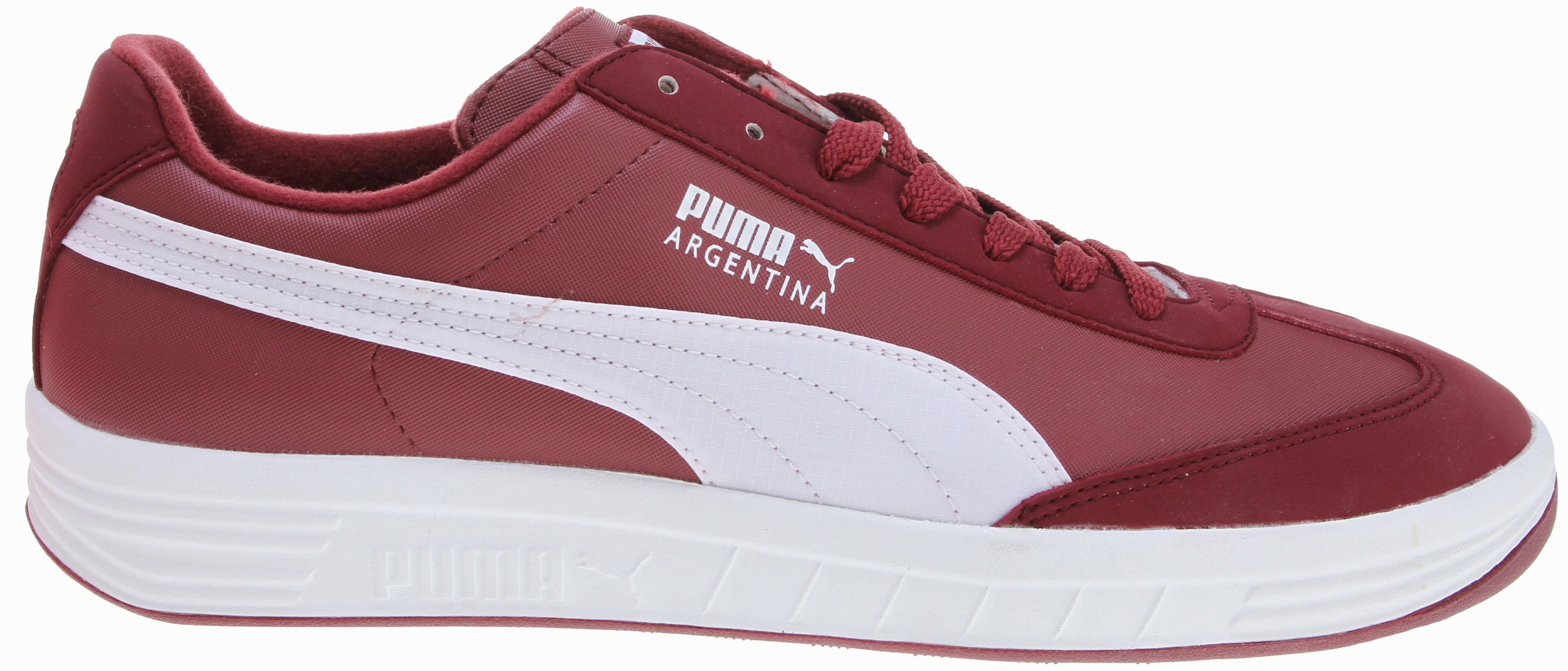 Re-issued from the PUMA archives, the Argentina was adopted by the B-boy community for its simplicity and clean styling. The Argentina became one of PUMA's most iconic styles in the UK as the low profile alternative to the GV Special. Available in rich, classic nubuck. Key Features of the Puma Argentina Nbk Shoes: Insole: Molded Polyurethane Outsole: Rubber Upper: Nubuck - $45.95
