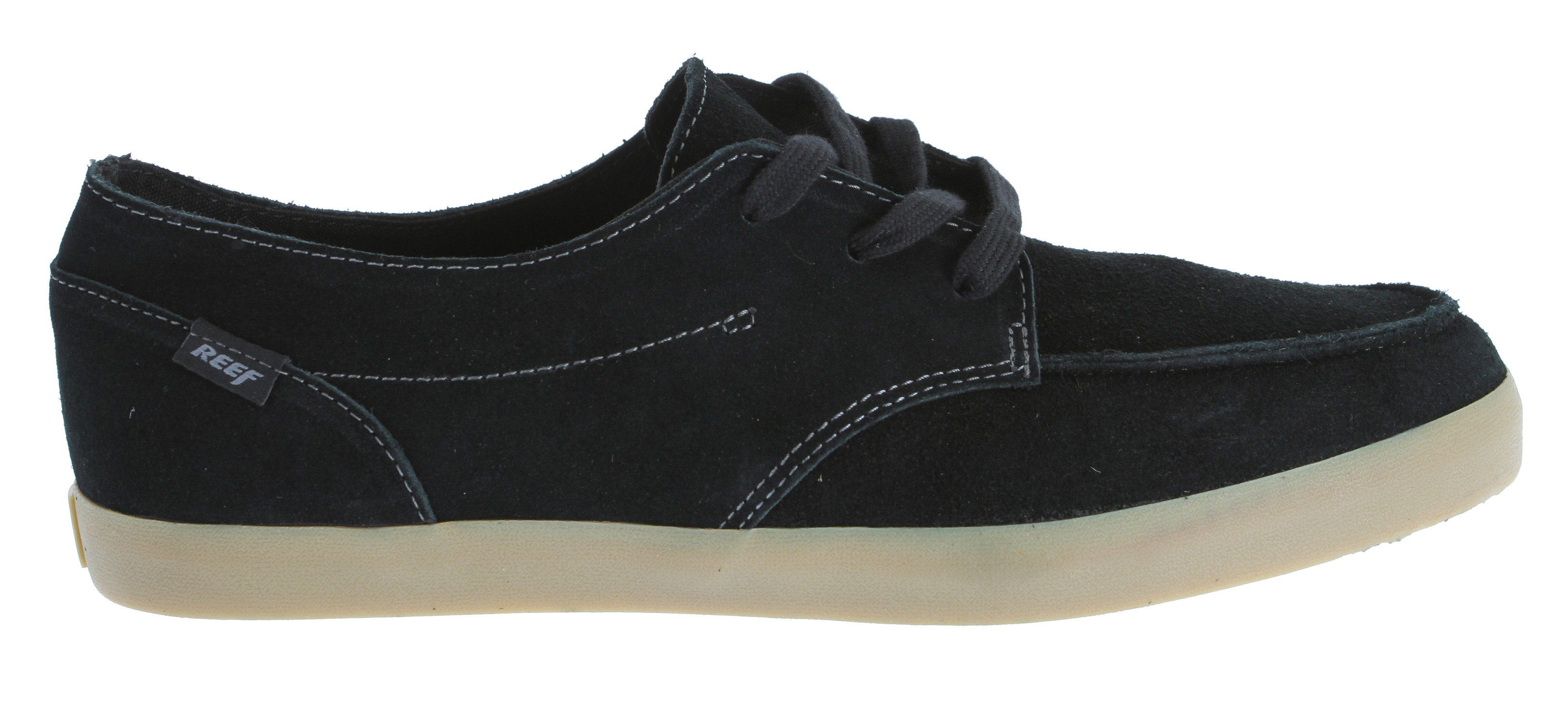 Surf Whether you're boardwalk-bound or making your way downtown, you'll rock the casual look in this hip leather lace-up from Reef. The Deckhand 2 LE Oxford features a soft yet sturdy upper, accented with contrast stitching and logo detail. The canvas lining keeps it comfy and breathable, while the thick rubber midsole gives it a light, grippy feel as well as plenty of retro flair.Key Features of the Reef Deck Hand 2 Le Shoes: Leather upper Fabric lining Manmade sole Anatomical arch support - $34.95