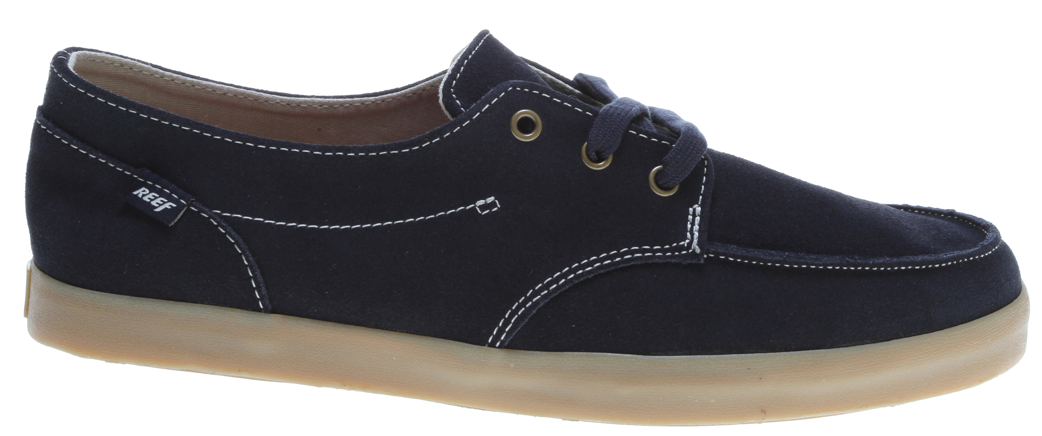 Surf Whether you're boardwalk-bound or making your way downtown, you'll rock the casual look in this hip leather lace-up from Reef. The Deckhand 2 LE Oxford features a soft yet sturdy upper, accented with contrast stitching and logo detail. The canvas lining keeps it comfy and breathable, while the thick rubber midsole gives it a light, grippy feel as well as plenty of retro flair.Key Features of the Reef Deck Hand 2 Le Shoes: Leather upper Fabric lining Manmade sole Anatomical arch support - $45.95