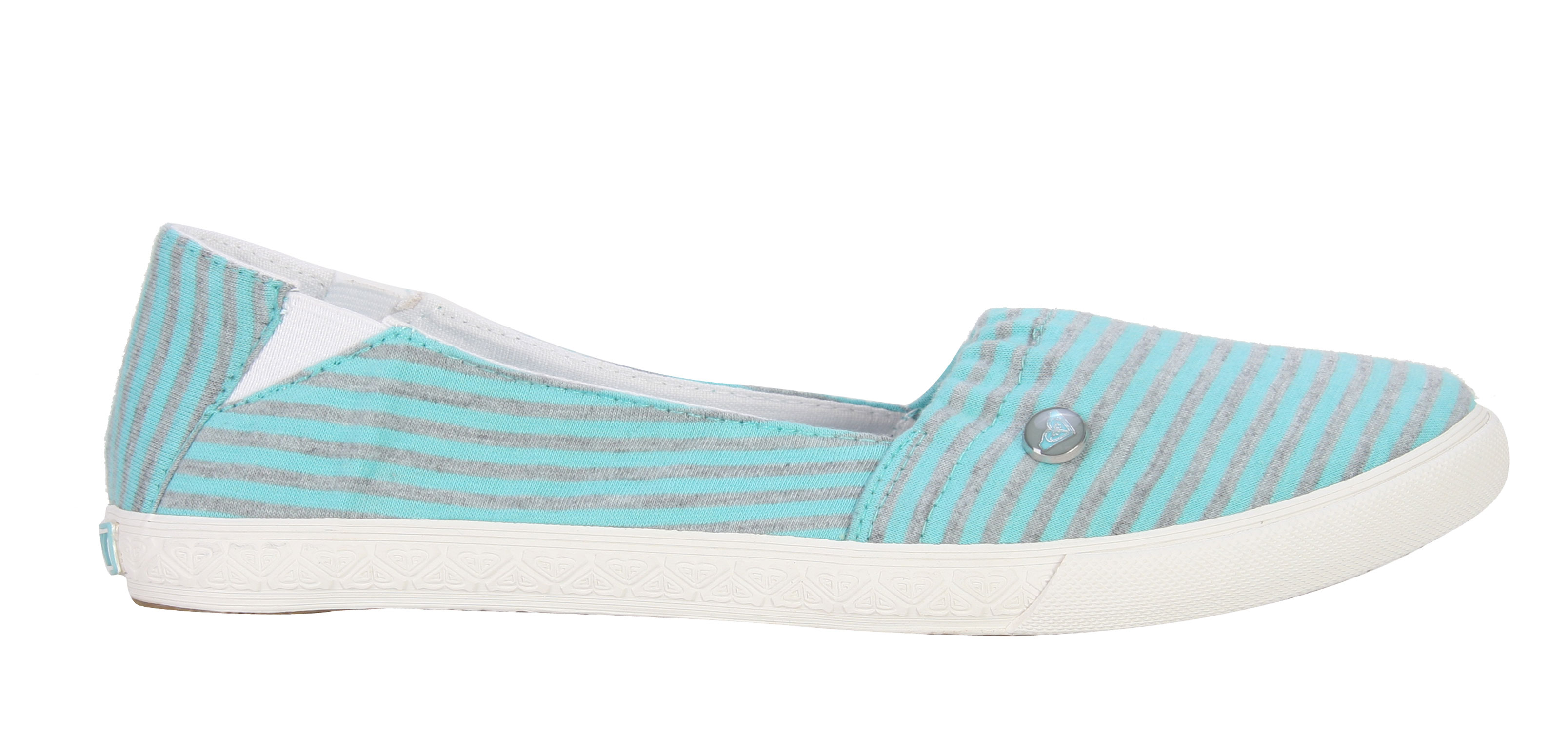 Surf Look truly feminine in these ultra comfy pair, the Roxy Abbey Shoes.  Featuring a light skinny stripe pattern, these shoes will instantly add texture to any look.  Its top line is elasticized for great fit and easy wear.  Great durable rubber soles provide great traction, ideal for long walks in the sun.  Look fabulous while feeling super comfortable and rock these in true style.Key Features of The Roxy Abbey Women's Shoes:  Striped Jersey  Elastic at Top Line For Fit  Enamel Logo Pin  Canvas Lining and Insole  Rubbing Foxing and Outsole  Boxed - $27.95