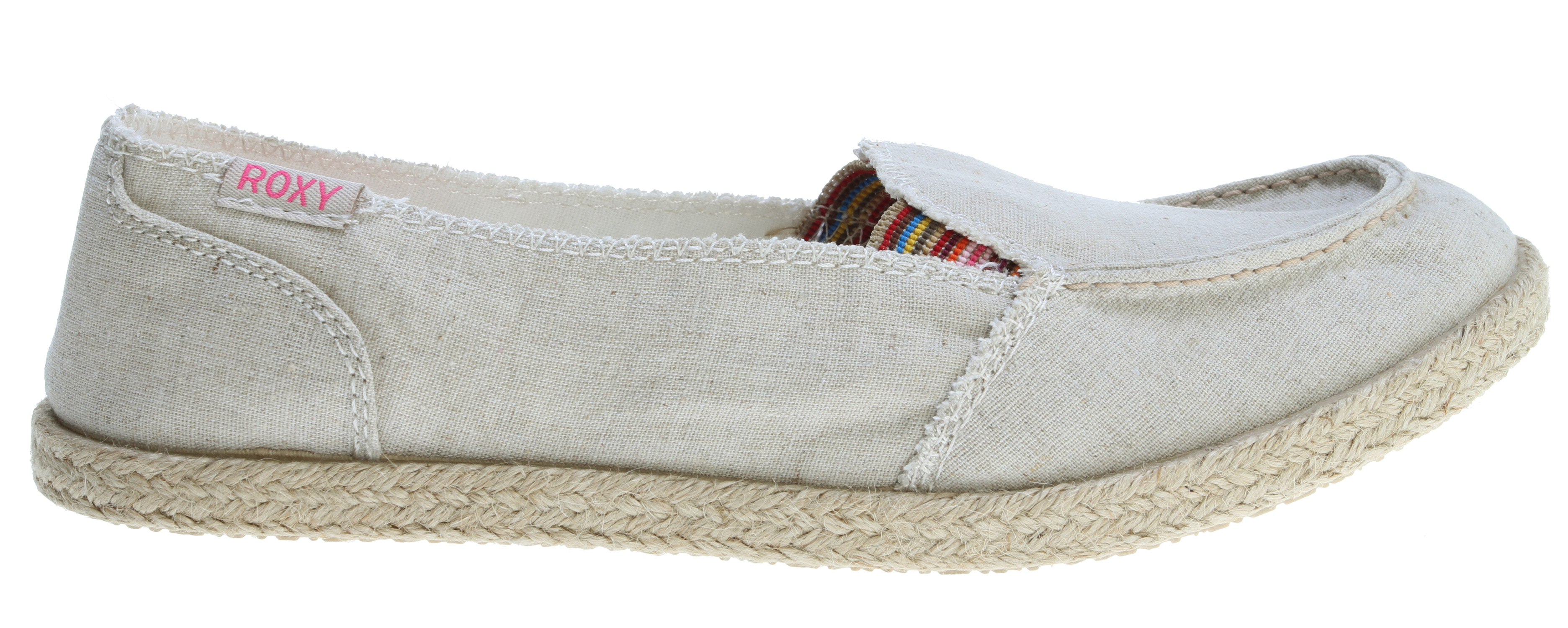 Surf Key Features of the Roxy Lido Jute Shoes: Washed twill or striped linen upper Logo flag Jute wrapped foxing Canvas lining Soft canvas padded insole with logo printed sock Flexible TPR injected outsole - $28.95