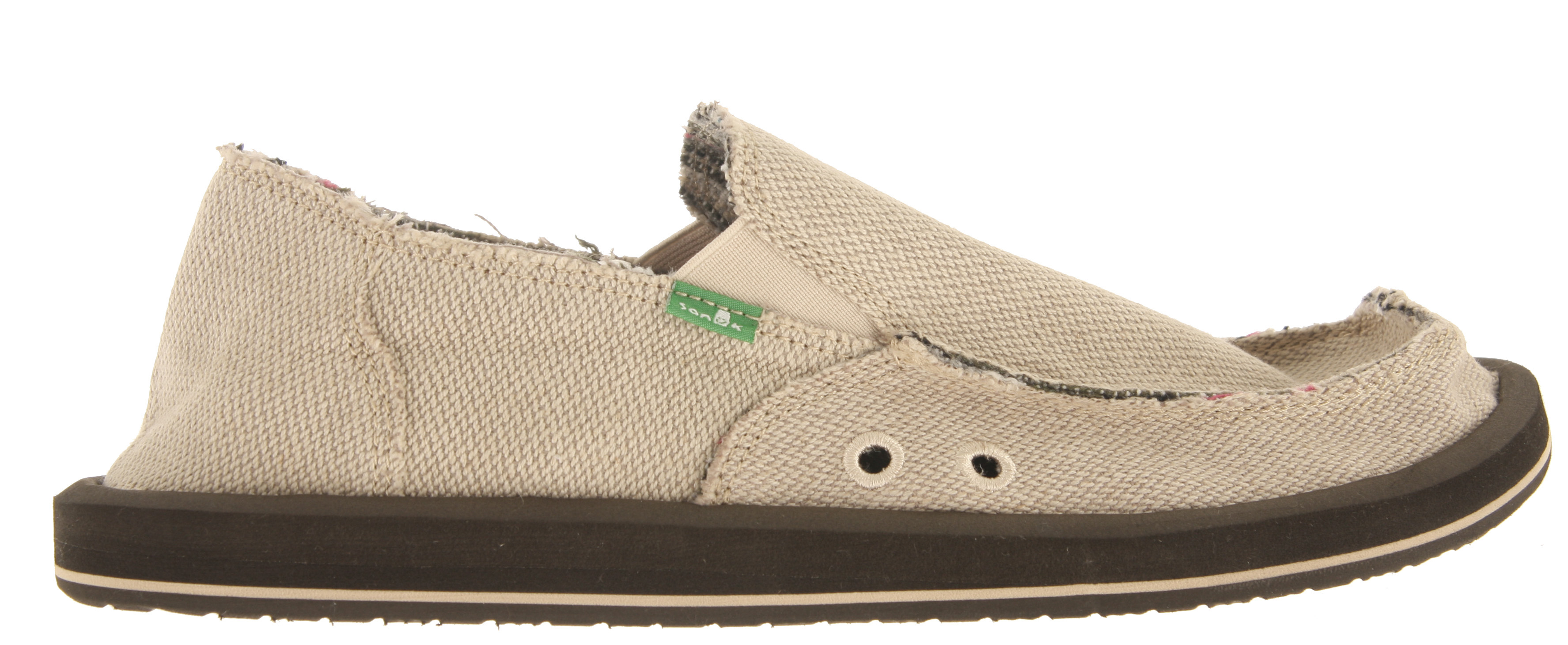 Just because you can roll it, doesn't mean you can smoke it. Key Features of the Sanuk Hemp Shoes: Super Soft, High Rebound, Molded EVA Footbed featuring AEGIS Antimicrobial additive Happy U Outsole Handmade Hemp Upper with Frayed Edge Detail Contrasting Poncho Textile Liner Vegan and Vegetarian - $39.95