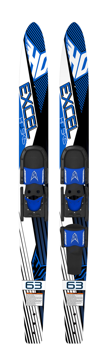 Ski Entry level combos at an entry level priceKey Features of the HO Excel Combo Waterskis 63 w/ Hs/Rts Bindings: Traditional Water Ski Shape Tunnel Bottom Design for a stable ride New Adjustable Horseshoe Boot fits a large range of foot sizes - $149.99