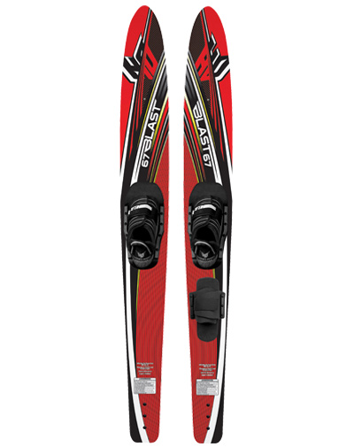 "Ski The Blast Combos are a great value providing a combo ski set that can be used as a slalom ski also. The Deep V bottom design provides a smooth ride over the wakes and solid tracking while carving up the lake. The Blast comes equipped with the Helix boot, including a soft EVA foam footbed and a step in entry system accommodating any shoe size. Have a Blast this summer on your set. Key Features of the HO Blast Combo Waterskis w/ Helix: Skill Level: Beginner to Recreational Sizes: 59"", 63"" & 67"" Size Limits: 59"" skiers up to 120 lbs. (55 kgs.) 63"" skiers 70-150 lbs. (32-68 kgs.) 67"" skiers 110 and up (50 kgs. and up) - $110.95"
