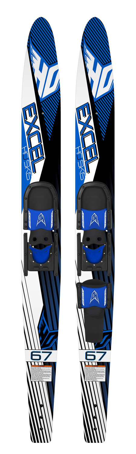 Ski Entry level combos at an entry level priceKey Features of the HO Excel Combo Waterskis 63 w/ Hs/Rts Bindings: Traditional Water Ski Shape Tunnel Bottom Design for a stable ride New Adjustable Horseshoe Boot fits a large range of foot sizes - $124.95