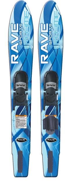 Ski The RAVE Rhyme Shaped Combos are shaped to make learning to ski easy and fun. The wide body style and parabolic side make deep water starts simple and allow quick planning for beginners. The double density adjustable slide binding is soft on the inside for comfort, but stiffer on the outside for ankle support. Includes a slalom toe for riders who want to advance their skills. Soft step inserts cushion the riders foot. Made in the USA. 164cm. For riders over 125 lbs. - $152.95