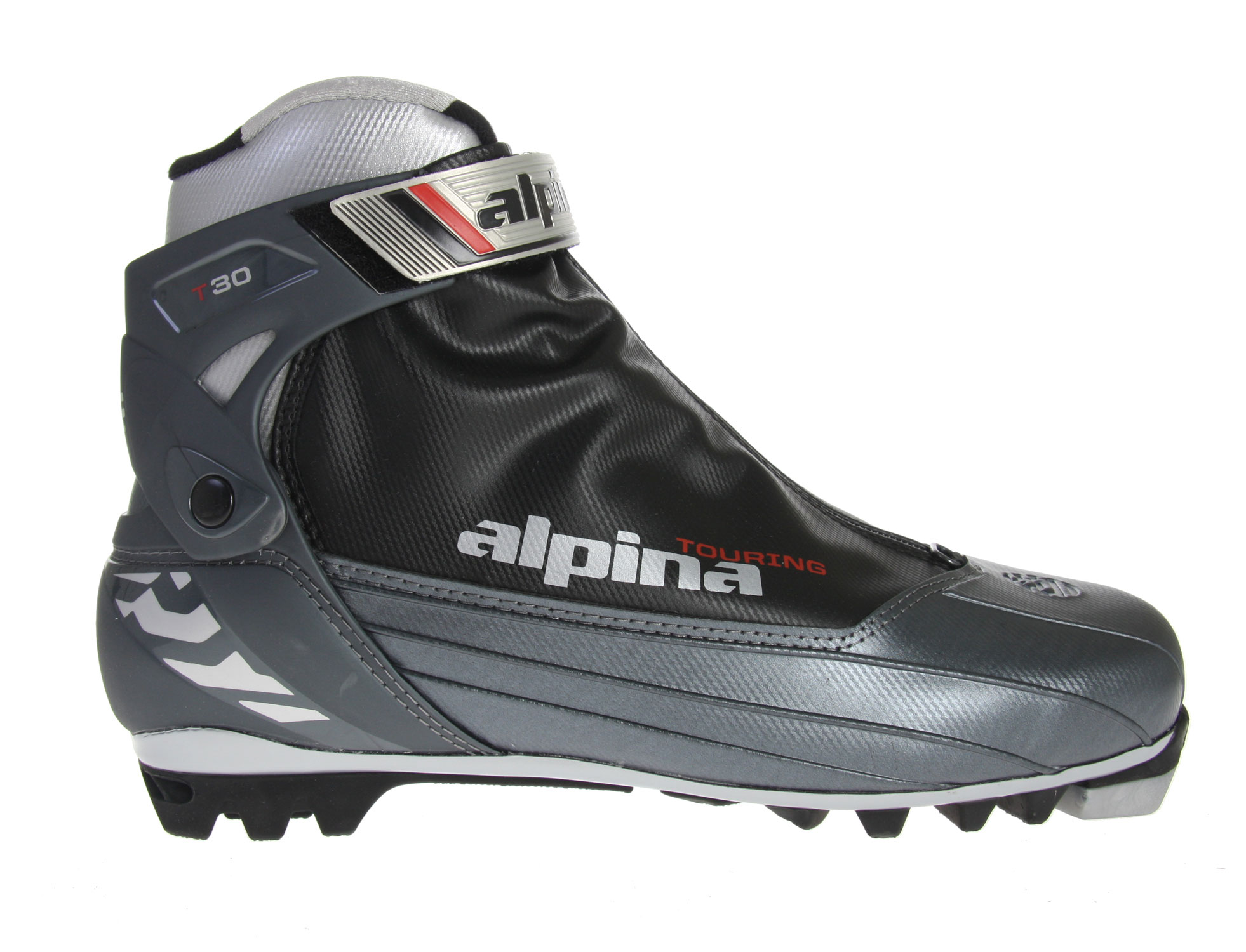 Ski The revolutionary Alpina T30 Crosscountry Ski Boots tread and stomp on the snow and rough terrain as easily as if it were simple grass. Additionally, the unique Thinsulate insulation manages to keep the feet as warm as possible without impeding the motion of the wearer. The plastic cuff and heel counter of the boot manage to crush everything the heavy boots tread on so that the powdery treachery of the slopes cannot slow the hopeful skier from living it up.Key Features of the Alpina T30 Crosscountry Ski Boots: Thinsulate insulation T4 touring sole Plastic cuff Plastic heel counter Power strap Soft boot flex Speed lacing system - $98.95