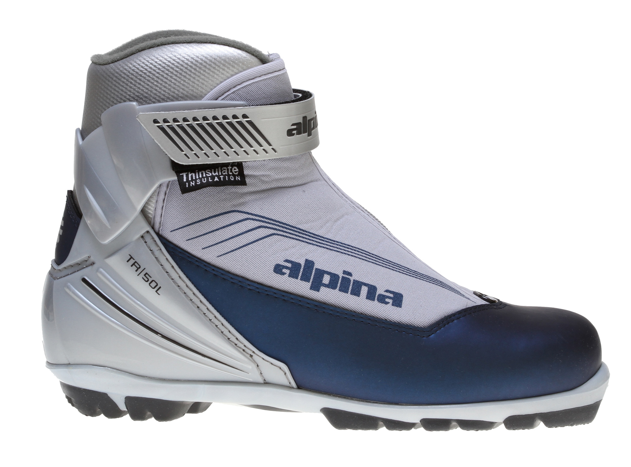 Ski Alpina TR 50L Cross Country Boots have very stylish and attractive synthetic uppers.  These shoes also have Thinsulate insulation in them, which will keep your feet really warm when you're out for hours on a cross country adventures.  In addition to being very warm, the Alpina TR 50L Cross Country Boots have a pivoting ankle support brace that is secured with a hook and loop strap, so your skis will stay attached to your boots and not trip you up!Key Features of the Alpina TR 50L Cross Country Boots:  Synthetic uppers  Thinsulate insulation  Pivoting ankle support brace with hook and loop strap  Water-resistant nylon zip gaiter  Removable cushioned footbed  NNN touring soles - $49.95
