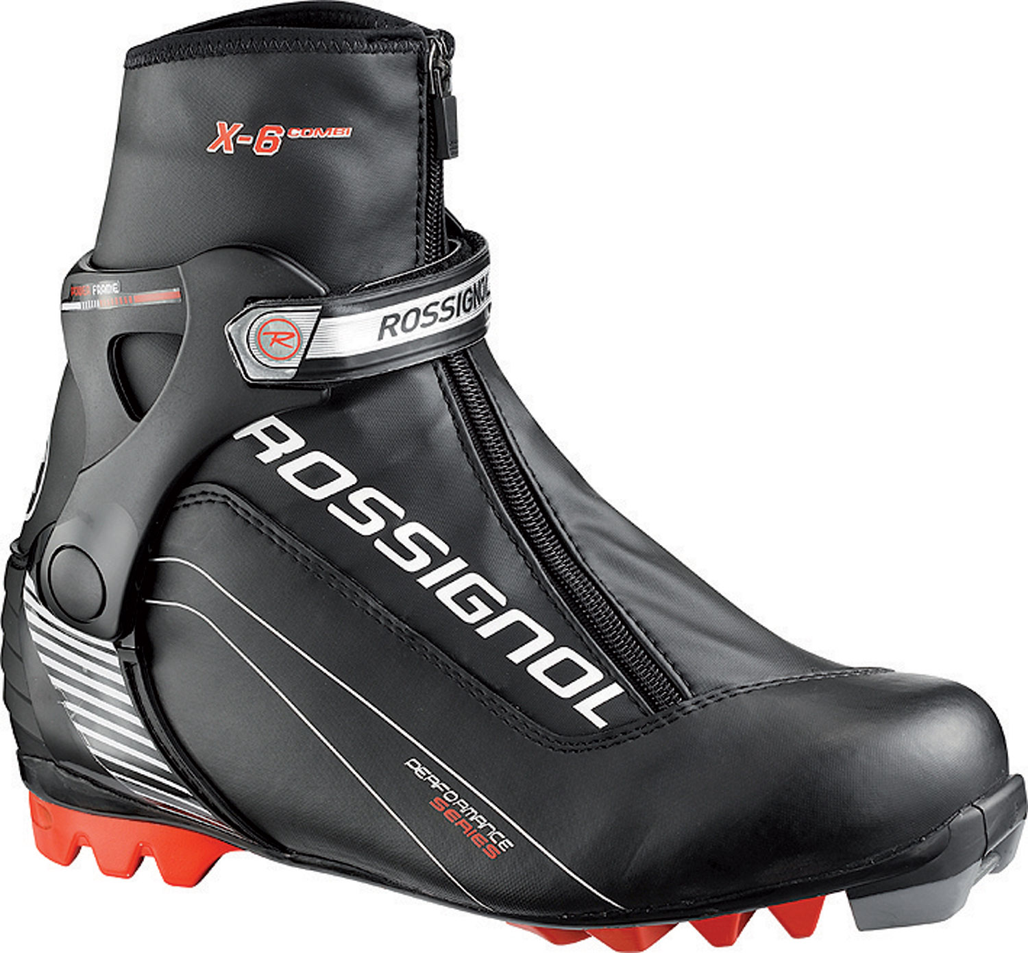Ski Rossignol Race boots deliver comfortable, lightweight, high-performance  Skate and classic boots for elite World cup racers to high school athletes  to fitness-oriented, entry-level skiers. For 12-13, an all-new and dramatically  improved X-ium WC boots that are 30 to 50 grams lighter, and feature new,  more anatomically-shaped cuffs, better fit, and low-profile, lightweight  soles!Key Features of the Rossignol X6 Combi Cross Country Ski Boots:   Sole : T4   Liner : Thermo Fit   Polyester - $93.95