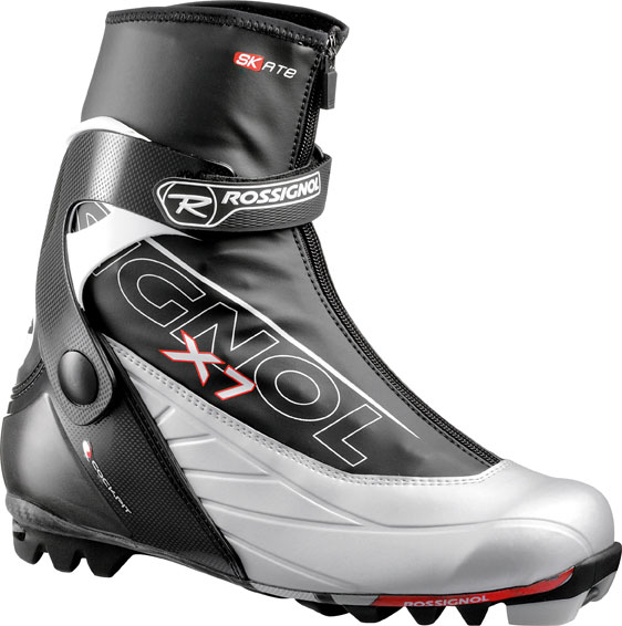 Ski Help step up your cross country skiing performance with the Rossignol X7 Skate Ski Boots. Like all sports, you want to show up with the right equipment, and sure will impress your friends with these. The heel has extreme 3D plastic reinforcement Bi-injection and the upper cuff with the 3D Bi-Injection. You wont go home with tired feet because the weight per boot is 630g. The lining is polyester with thermo adjustable fit with a velcro strap to close. You wont be waisting anytime getting ready.Key Features of the Rossignol X7 Skate Ski Boots: Heel: Extreme 3D plastic reinforcement Bi-injection Upper Cuff: 3D Bi-Injection Lower: PVC Lace Cover: PVC Weight per boot: 630g Lining: Polyester Thermo Adjustable Fit Lacings: Speed Lace Lock Closings: New Velcro Strap - $124.95