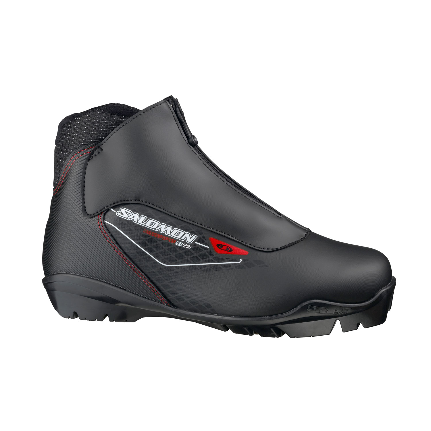 Ski Updated touring boot delivering Salomon fit and comfort at a great price.Key Features of the Salomon Escape 5 TR Cross Country Ski Boots: Protection Lace cover with central zip Heel support Internal thermo formed heel counter Last Salomon Touring fit SNS PROFIL Touring Sport outsole Weight: 940g/pair (8) - $68.95
