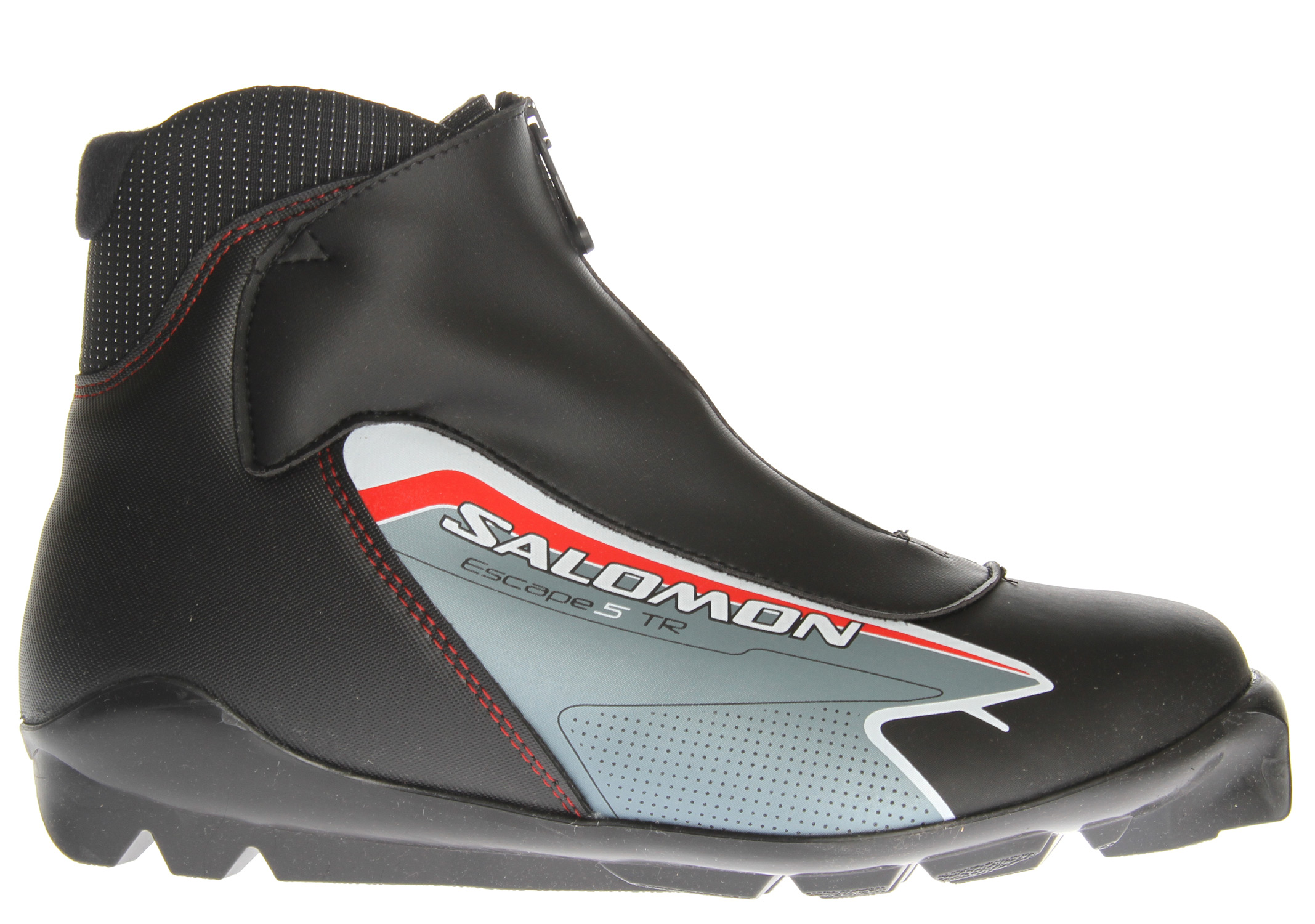 Ski Stress free touring at a good value: Salomon comfortable touring fit, and protection against snow entry.Key Features of the Salomon Escape 5 Tr Ski Boots: Heel support: Internal thermo formed heel counter Last: Salomon Touring fit Protection: Lace cover with central zip - $74.95