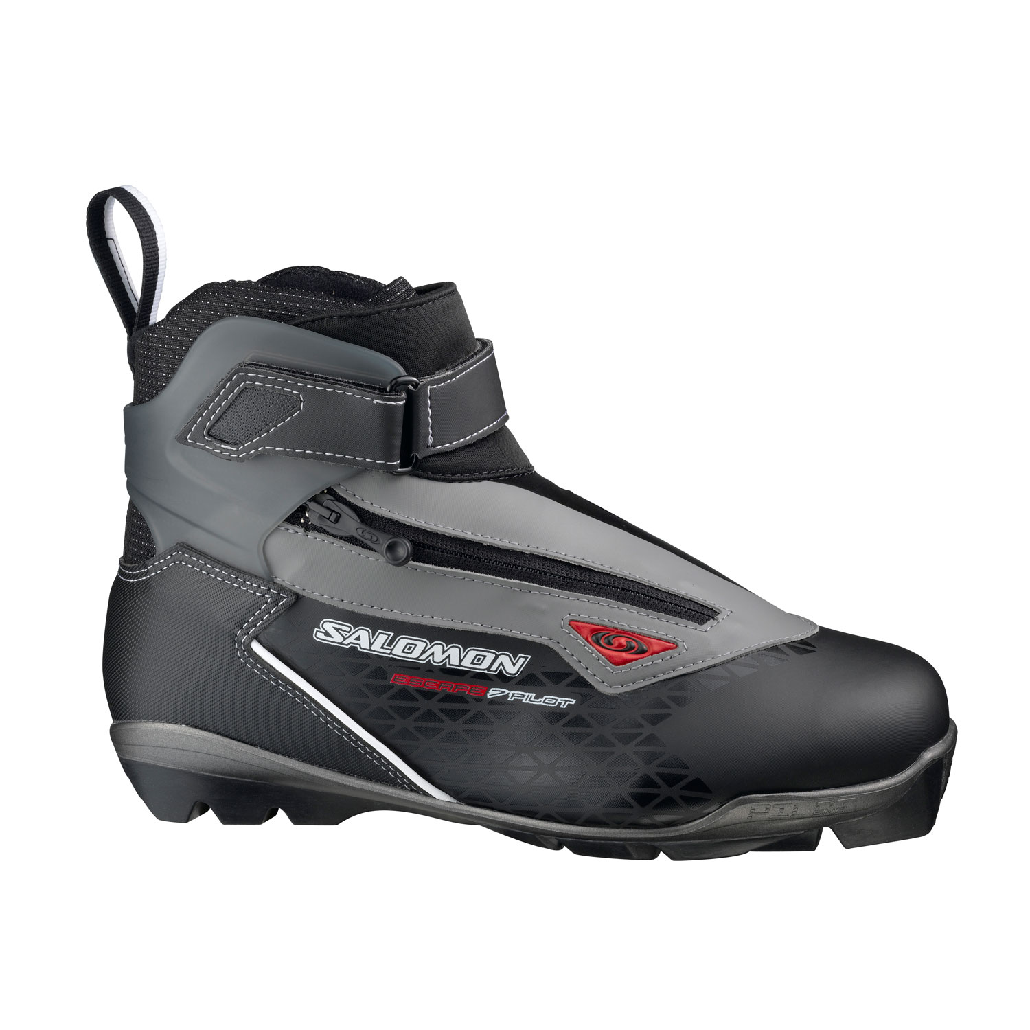 Ski Sport touring boot with renown Salomon fit and updated design.Key Features of the Salomon Escape 7 Pilot CF Cross Country Ski Boots: SNS PROFIL Touring Sport outsole Weight: 1040 g/pair (8) Cuff: Ergonomic flexible cuff Protection: Lace cover with diagonal zip Last: Salomon Touring fit - $160.00