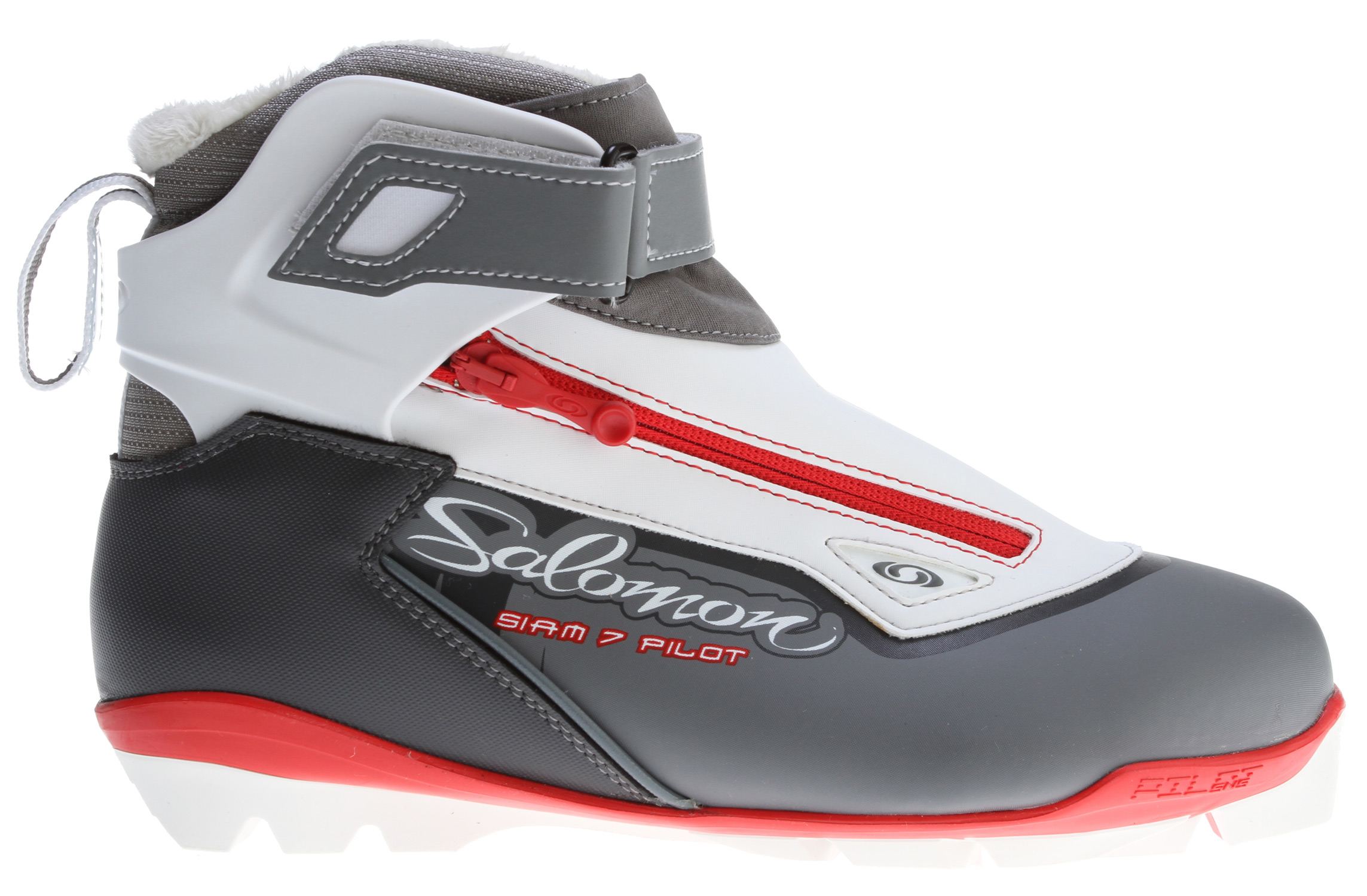 Ski Key Features of the Salomon Siam 7 Pilot Cross Country Ski Boots: SNS PILOT2 Touring outsole Weight 900 g/pair (5) Cuff Velcro strapped adjustable cuff Liner Custom Fit Thinsulate Faux fur Lacing Quicklace Protection Lace cover with diagonal zip Women specific Salomon Touring Women fit Fleece lining Faux fur - $111.95