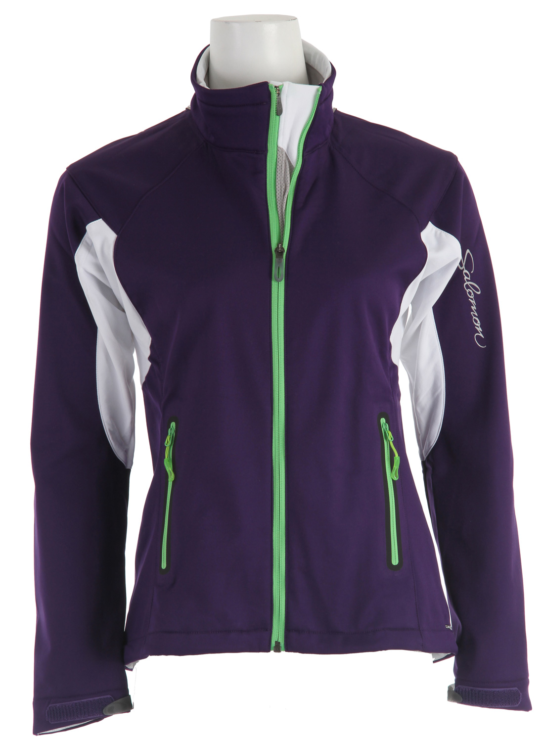 "Ski Smart Skin technology puts complete wind protection with a more breathable SOFTSHELL on the front of this jacket. Ideal for moderate aerobic activity in cold, windy weather.Key Features of the Salomon Active III Softshell Ski Jacket: SMART SKIN actiTHERM stretch poly knit climaWIND 3L SOFTSHELL 2 way zipper 3 zipped pockets Cuff Tabs Reflective branding front & back Body & sleeve hem adjustment Center front smart venting Off-centered zip Thumb loop Dropped back hem Active fit Center Back: 26.4"" - $119.95"