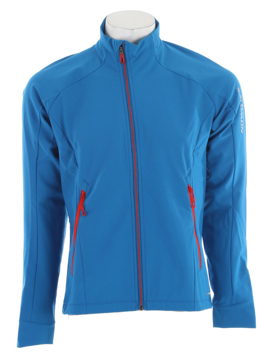 Ski For training in very cold weather or a pre-face warmup, this Softshell jacket has a 3 layer windstopper fabric on the front to block chilling wind, and an open back pocket to carry snacks or essentials out on the trail.Key Features of the Salomon Momentum 3 Softshell Cross Country Ski Jacket: Softshell Smart skin ClimaWIND III Softshell actitherm stretch poly knit Smart closure 1 Rear pocket 2 Zippered pockets Active fit - $103.95